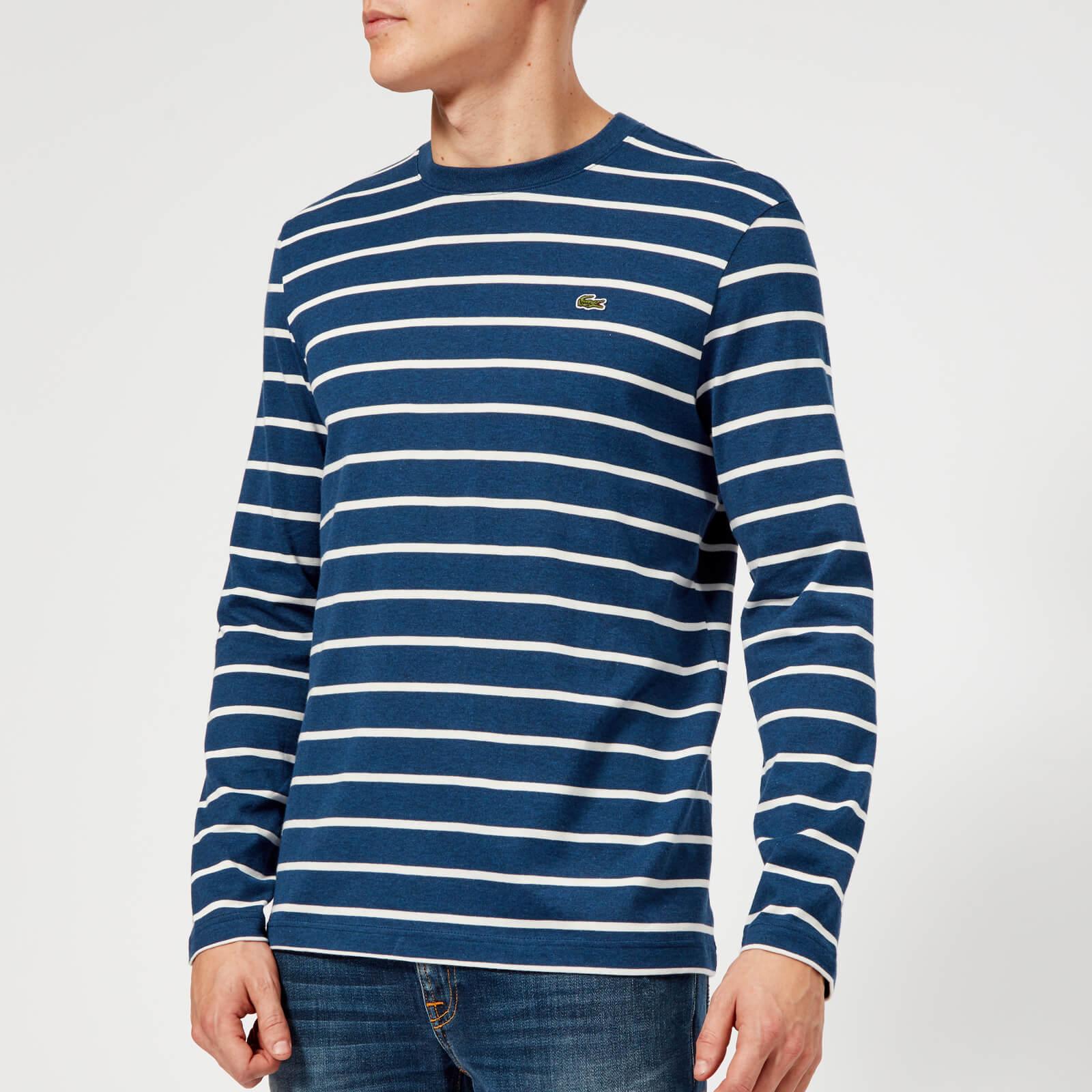 f6f75dca9a8fd Lacoste Men s Long Sleeve Breton Stripe T-Shirt - Matelot Chine Flour -  Free UK Delivery over £50