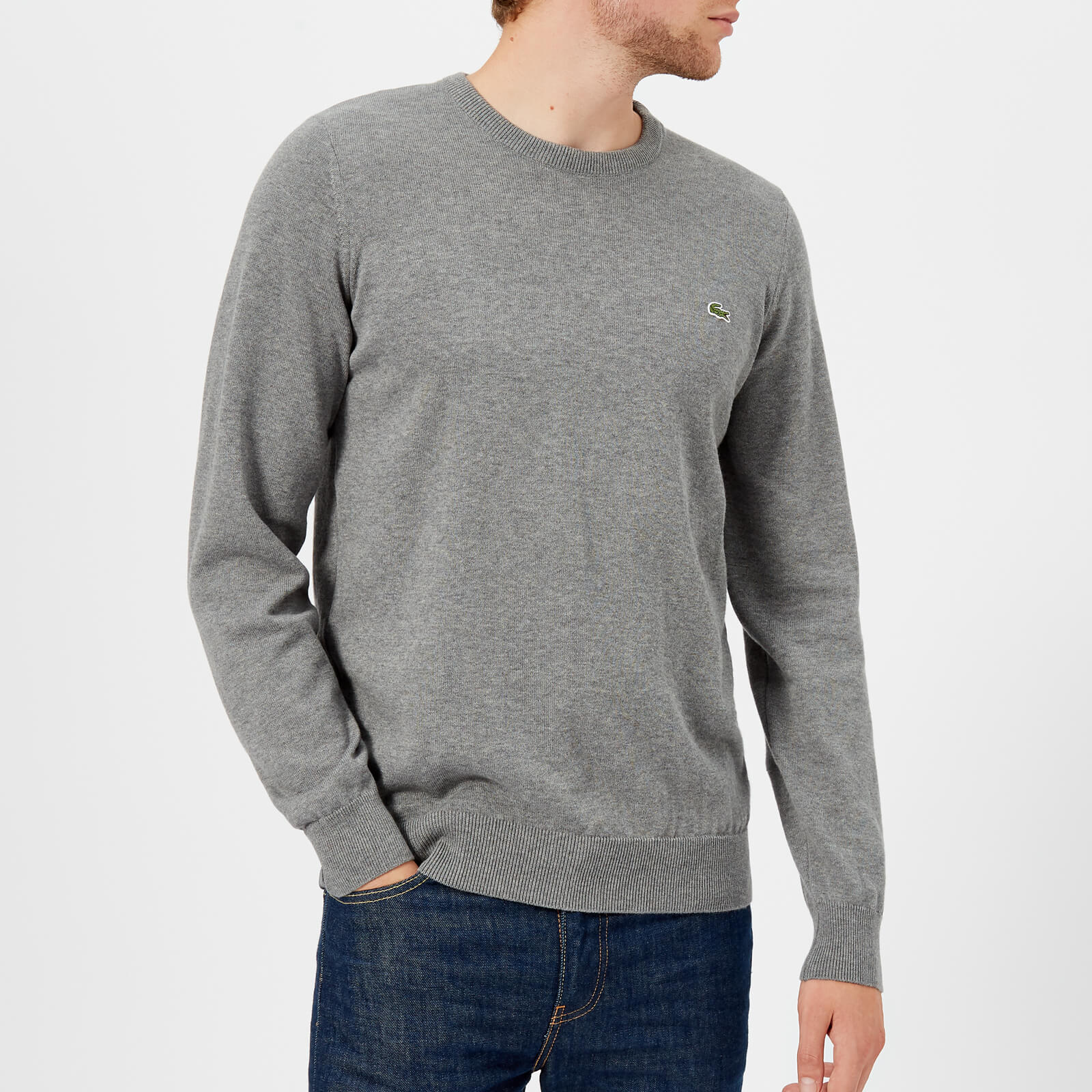 084ad34bc9c Lacoste Men's Cotton Crew Neck Knitted Jumper - Galaxite Chine/Flour