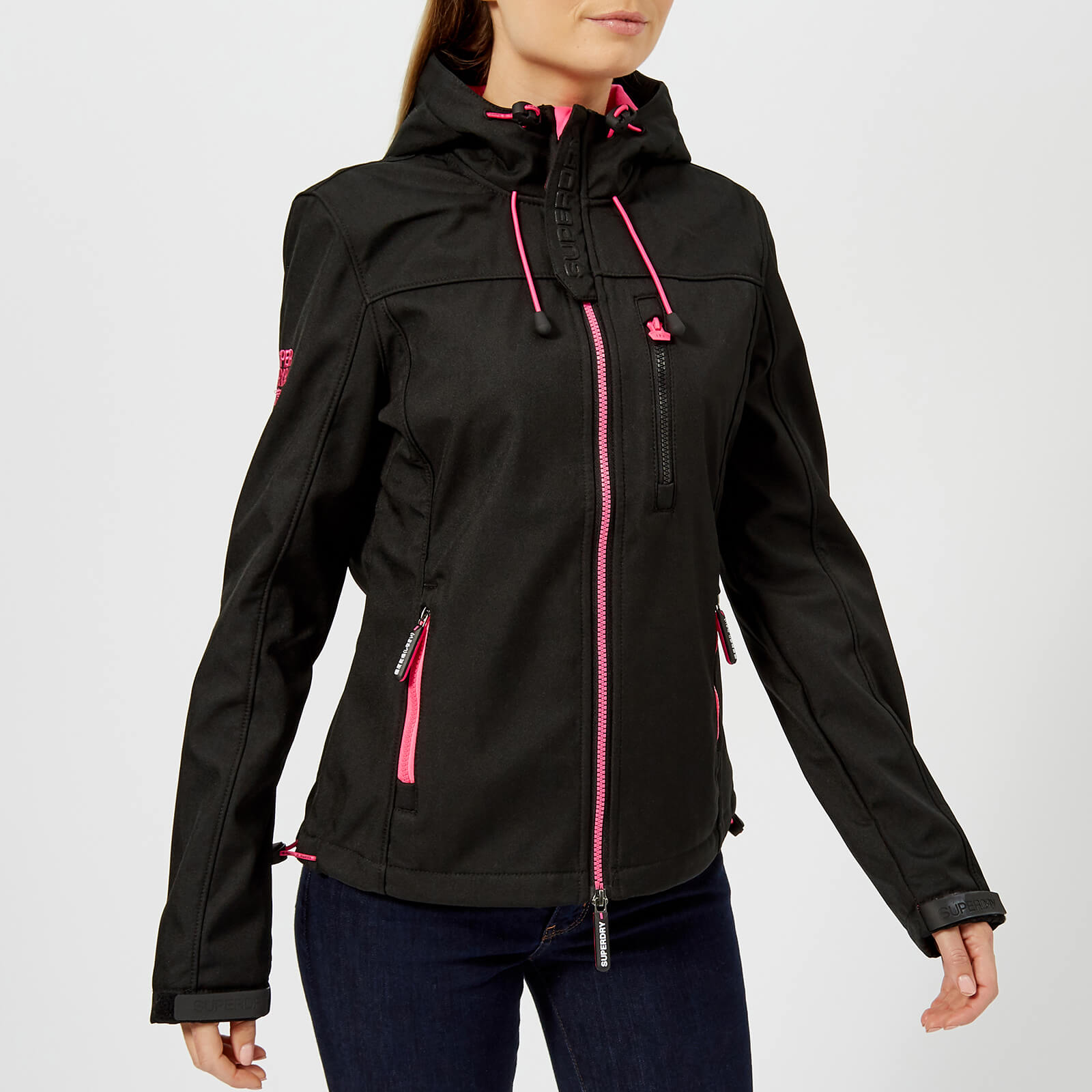 competitive price f7587 d0a98 Superdry Women's Hooded Windtrekker - Black/Code Pink