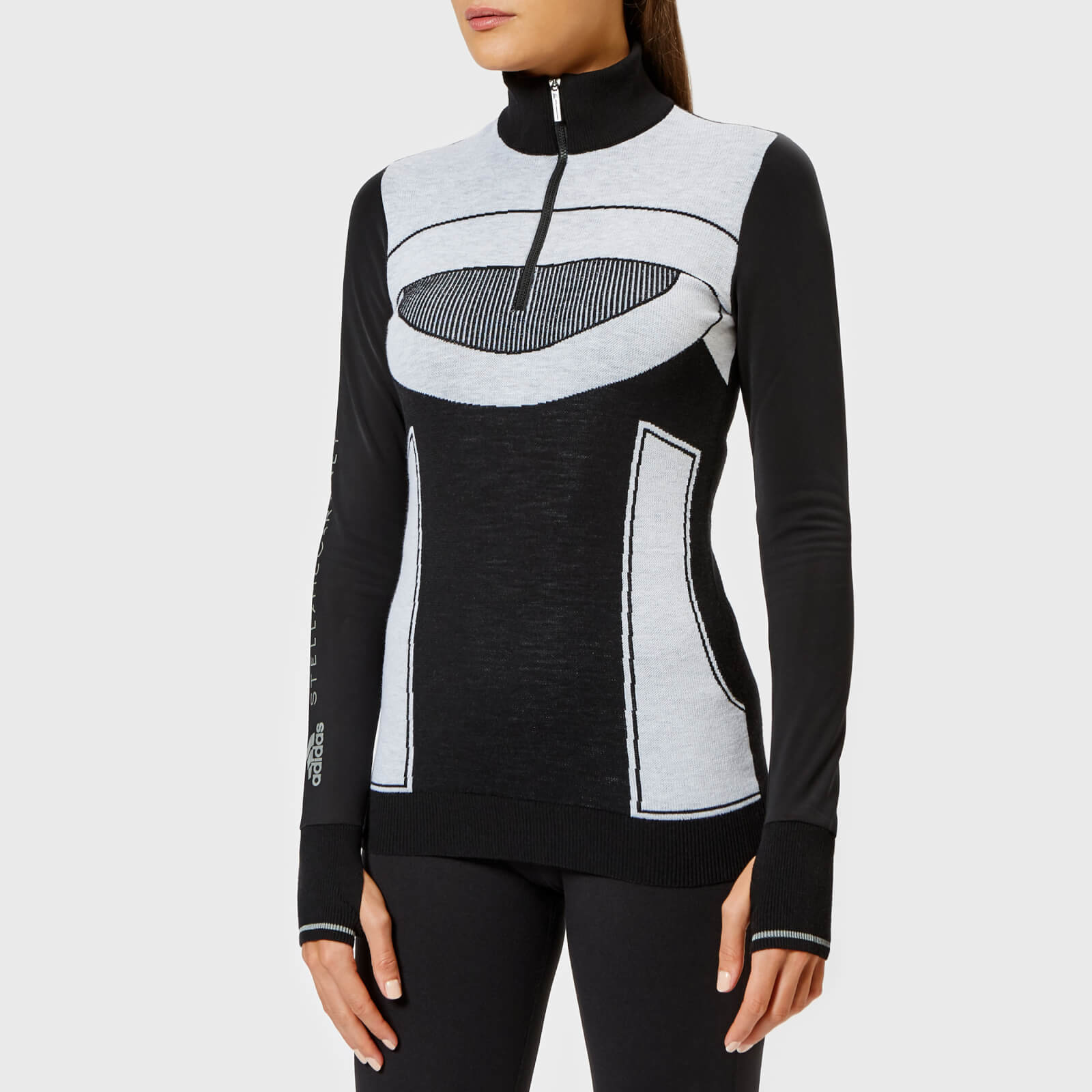 d4e42911bf6 adidas by Stella McCartney Women's Run Ultra Long Sleeve Top - Black/White  - Free UK Delivery over £50