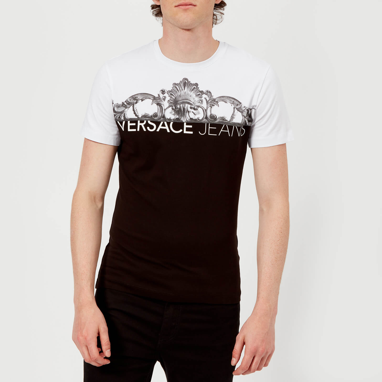 a9d61b6b7 Versace Jeans Men's Chest Script Logo T-Shirt - Black/White Clothing |  TheHut.com