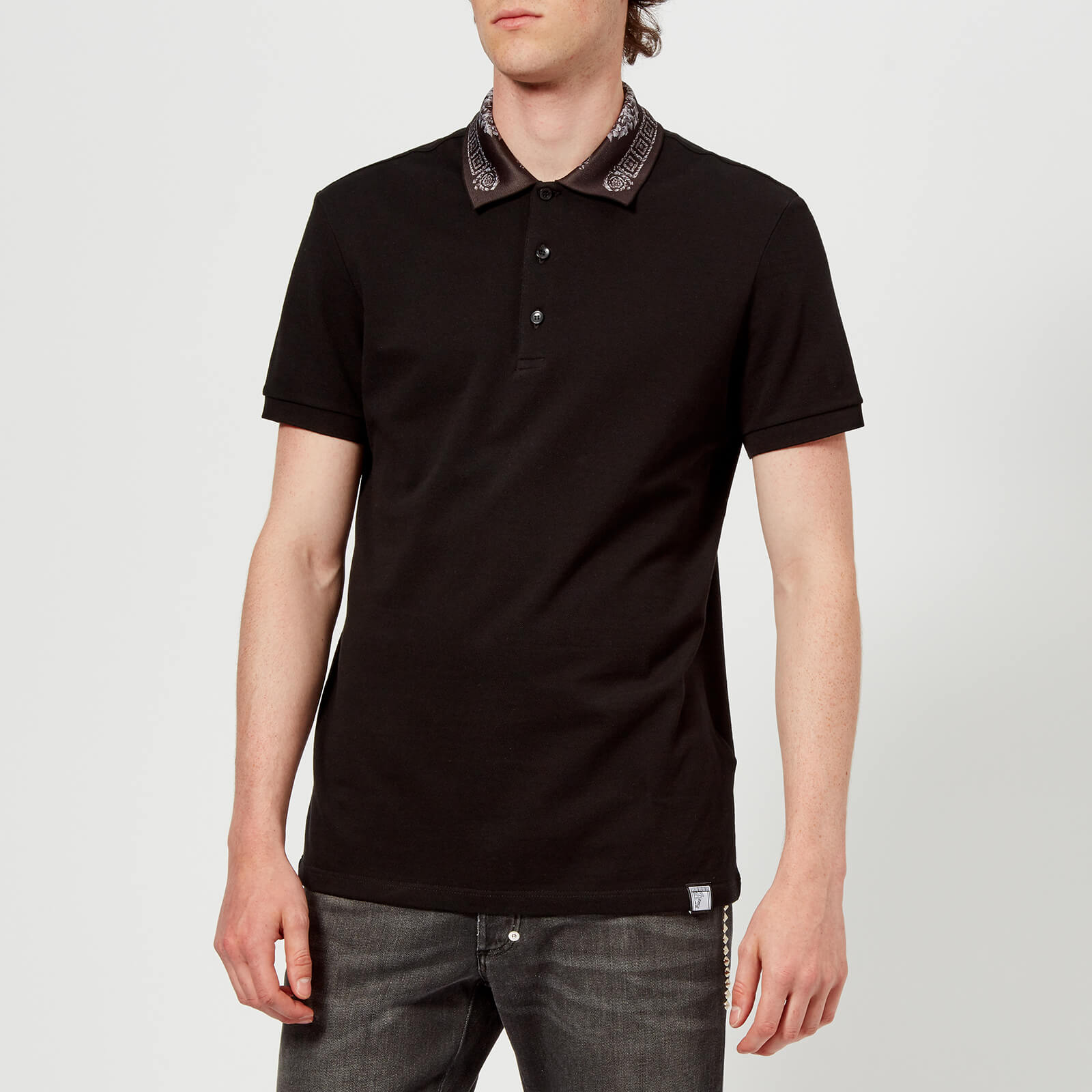 c6801383 Versace Collection Men's Collar Detail Polo Shirt - Nero - Free UK Delivery  over £50