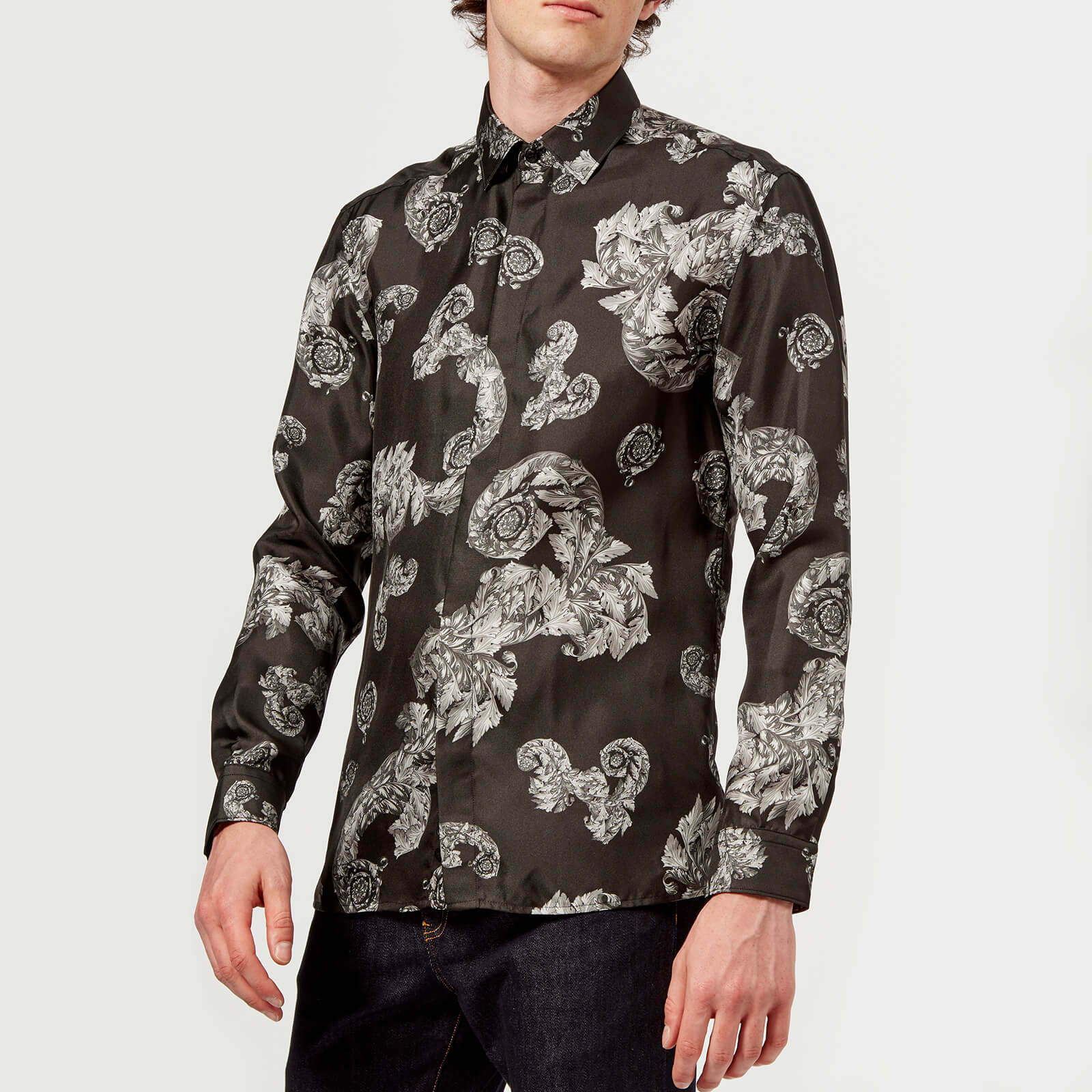 bea9f30b Versace Collection Men's Patterned Long Sleeve Shirt - Grigio Mens Clothing  | TheHut.com
