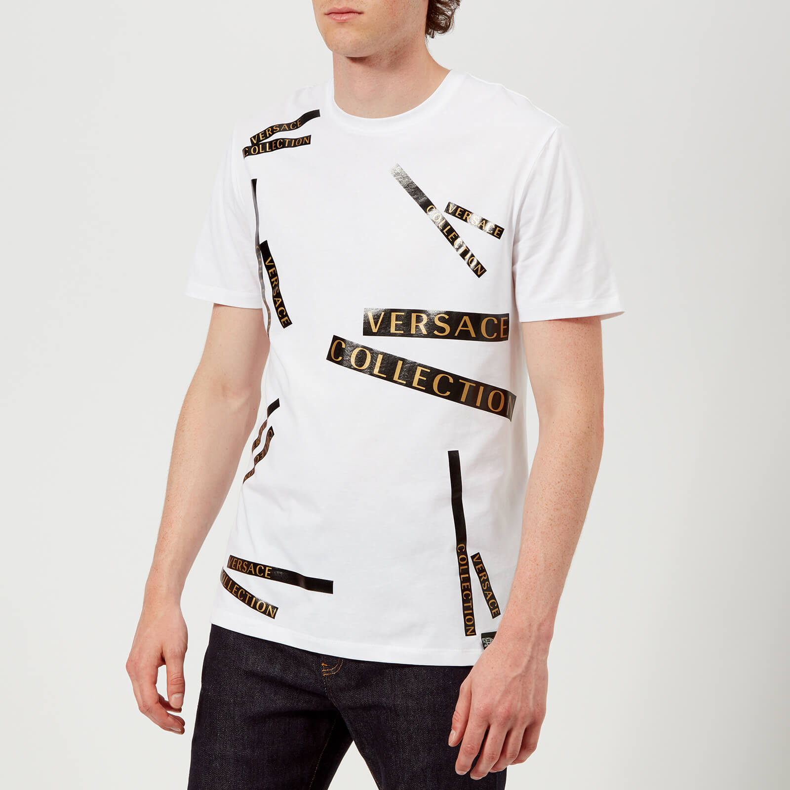 608d927a Versace Collection Men's Tape Detail T-Shirt - Bianco - Free UK Delivery  over £50