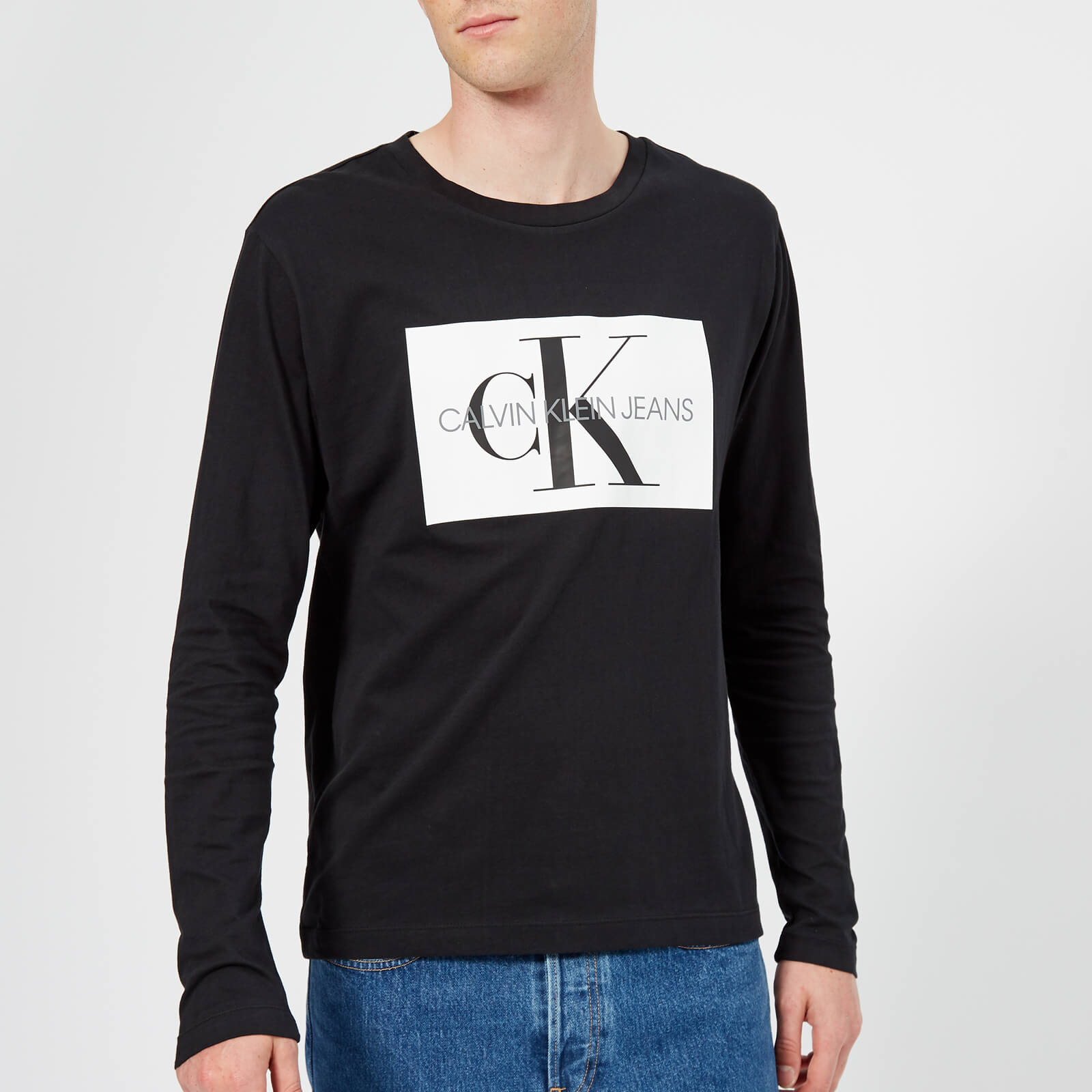 815d27390aade ... Calvin Klein Jeans Men s Monogram Box Logo Long Sleeve T-Shirt - CK  Black