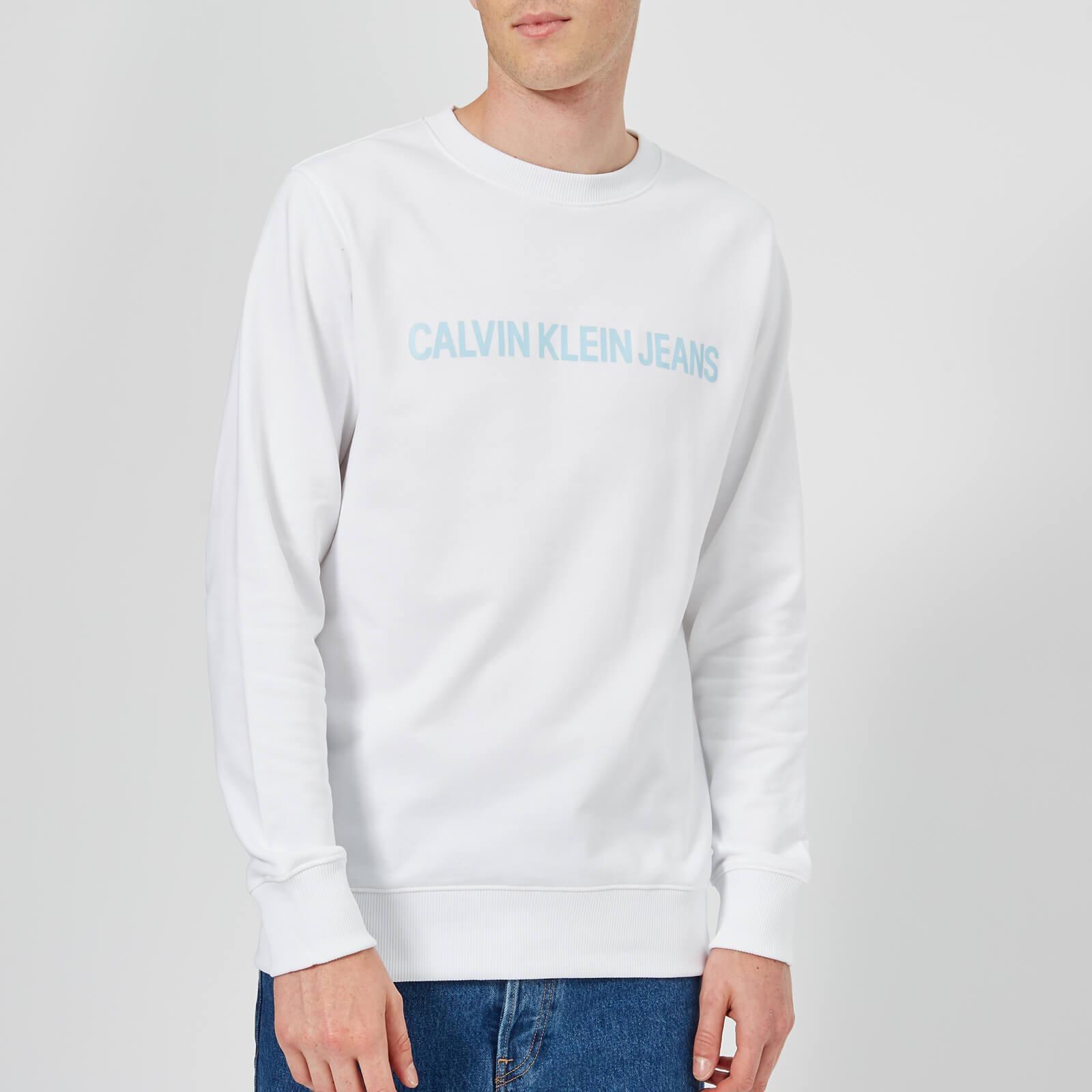 4035eb8d0b6c Calvin Klein Jeans Men s Institutional Logo Sweatshirt - Bright White Mens  Clothing