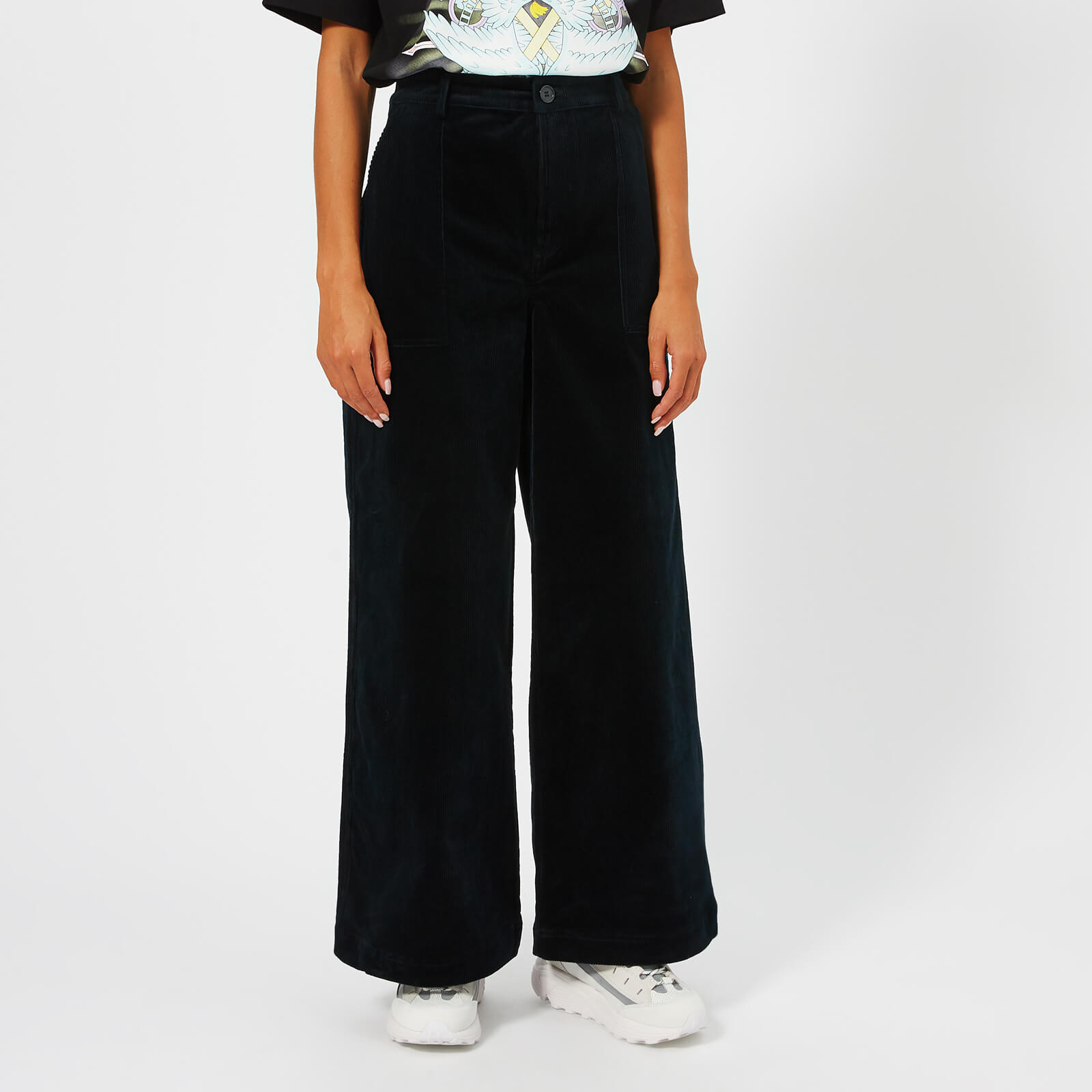 266cfd0816ed23 Ganni Women's Ridgewood Wide Leg Trousers - Total Eclipse - Free UK  Delivery over £50