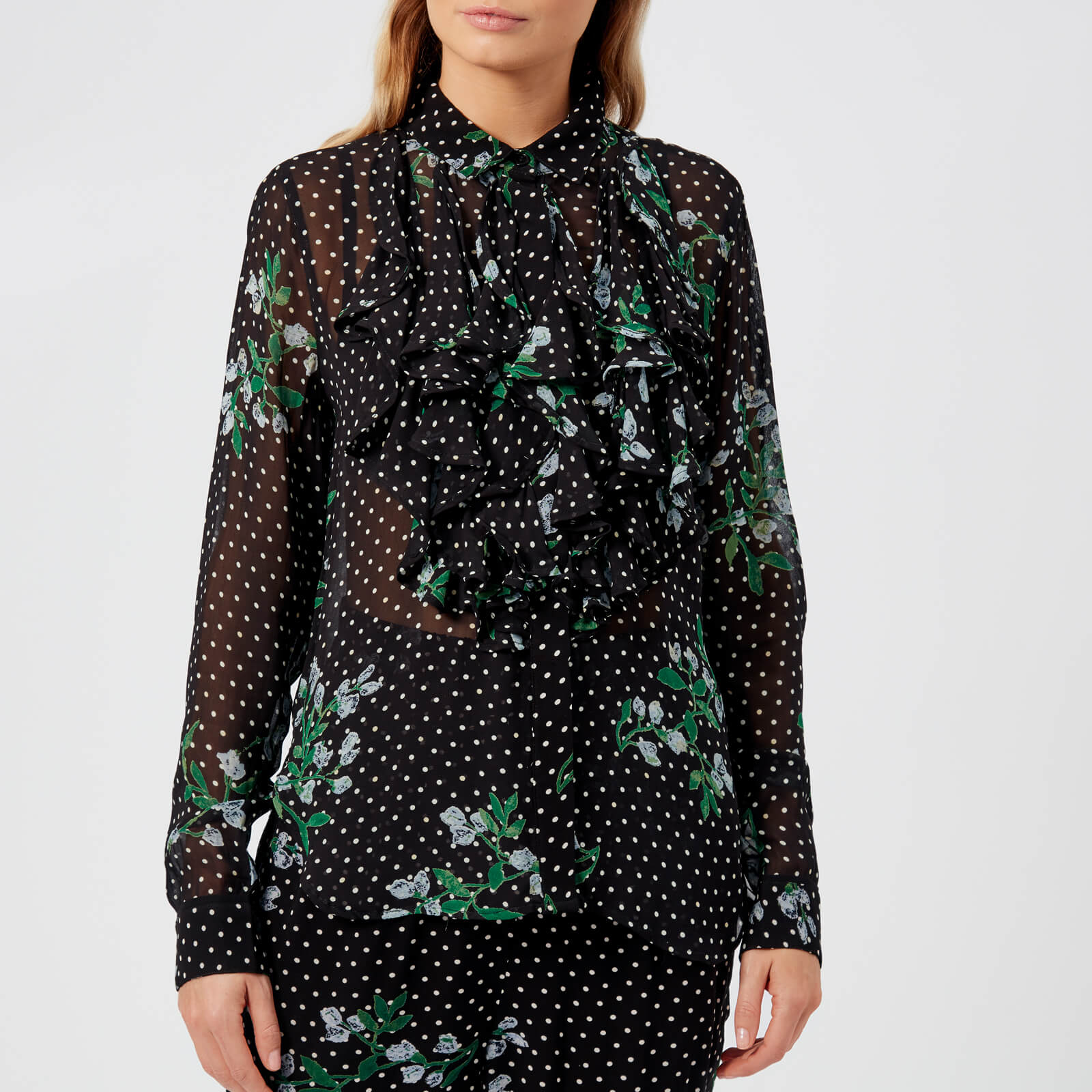 d11154d3 Ganni Women's Rometty Georgette Blouse - Black - Free UK Delivery over £50
