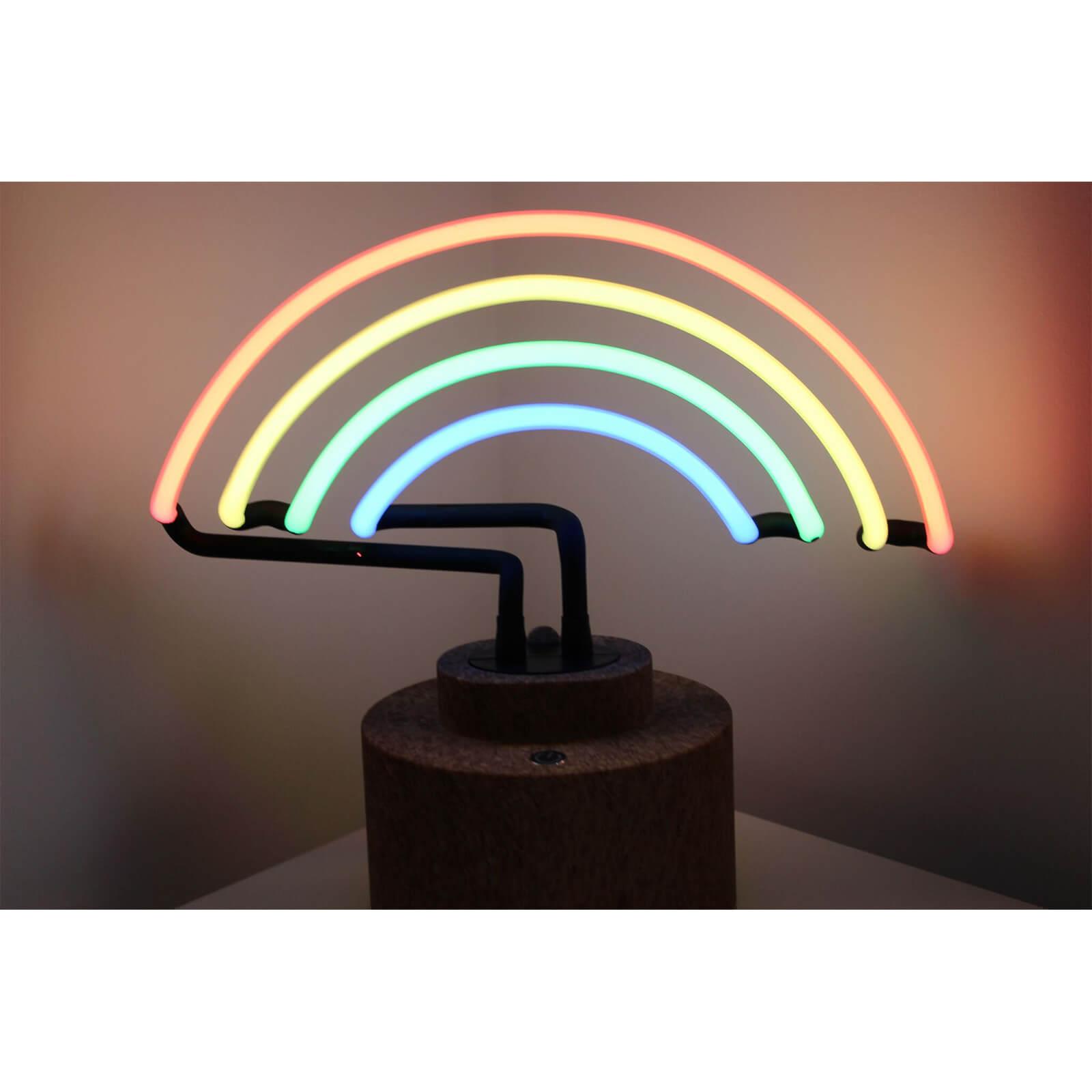 Gingersnap Large Neon Rainbow Table Lamp Cork Base