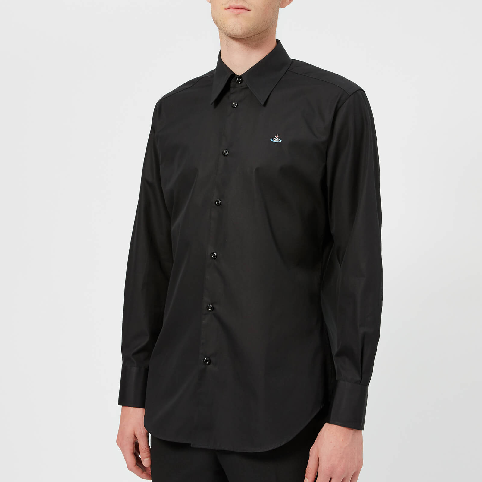 97a8f7b6ea7f7 Vivienne Westwood Men s Firm Poplin Classic Shirt - Black - Free UK  Delivery over £50
