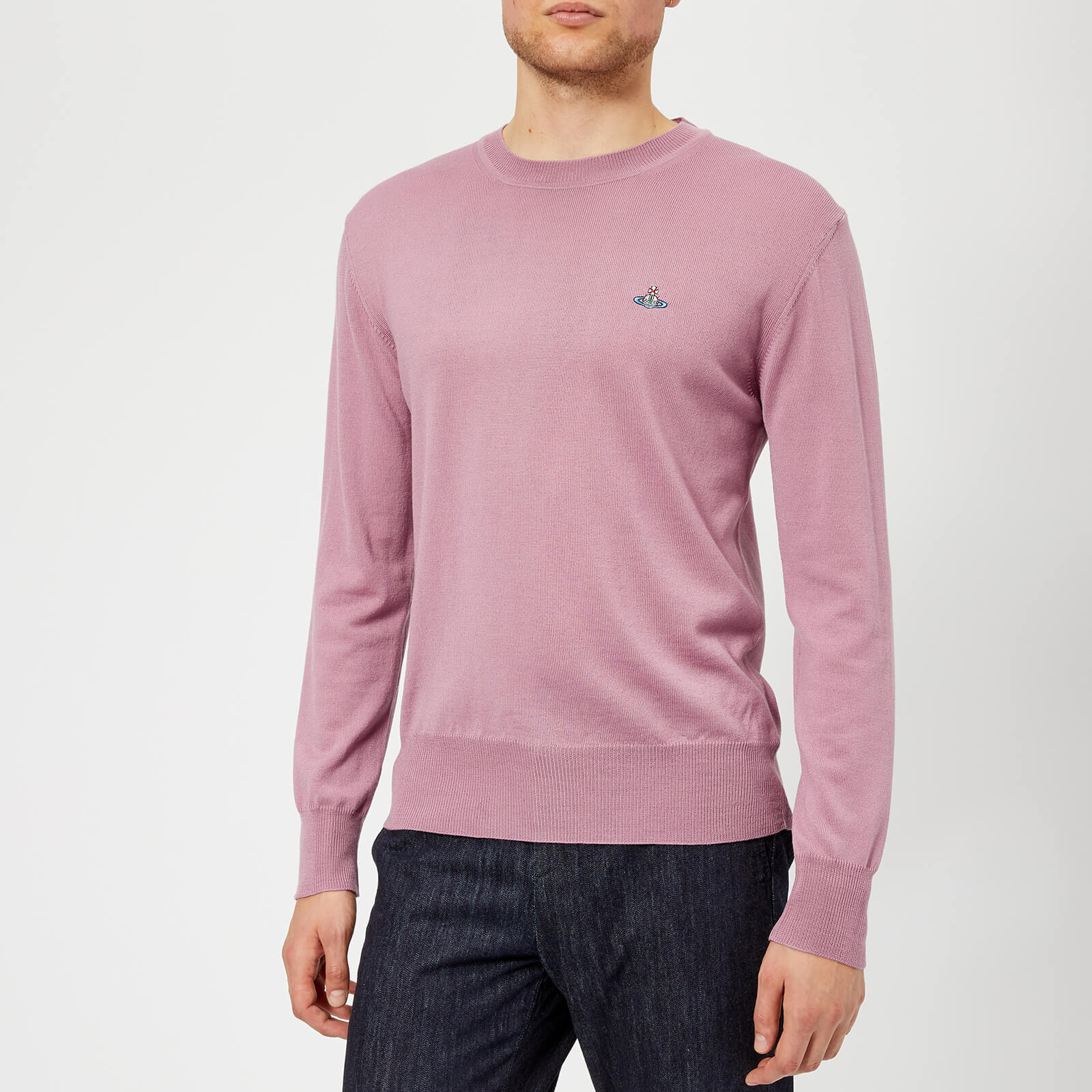 9970ad531e Vivienne Westwood Men's Classic Round Neck Knitted Jumper - Dusty Pink -  Free UK Delivery over £50