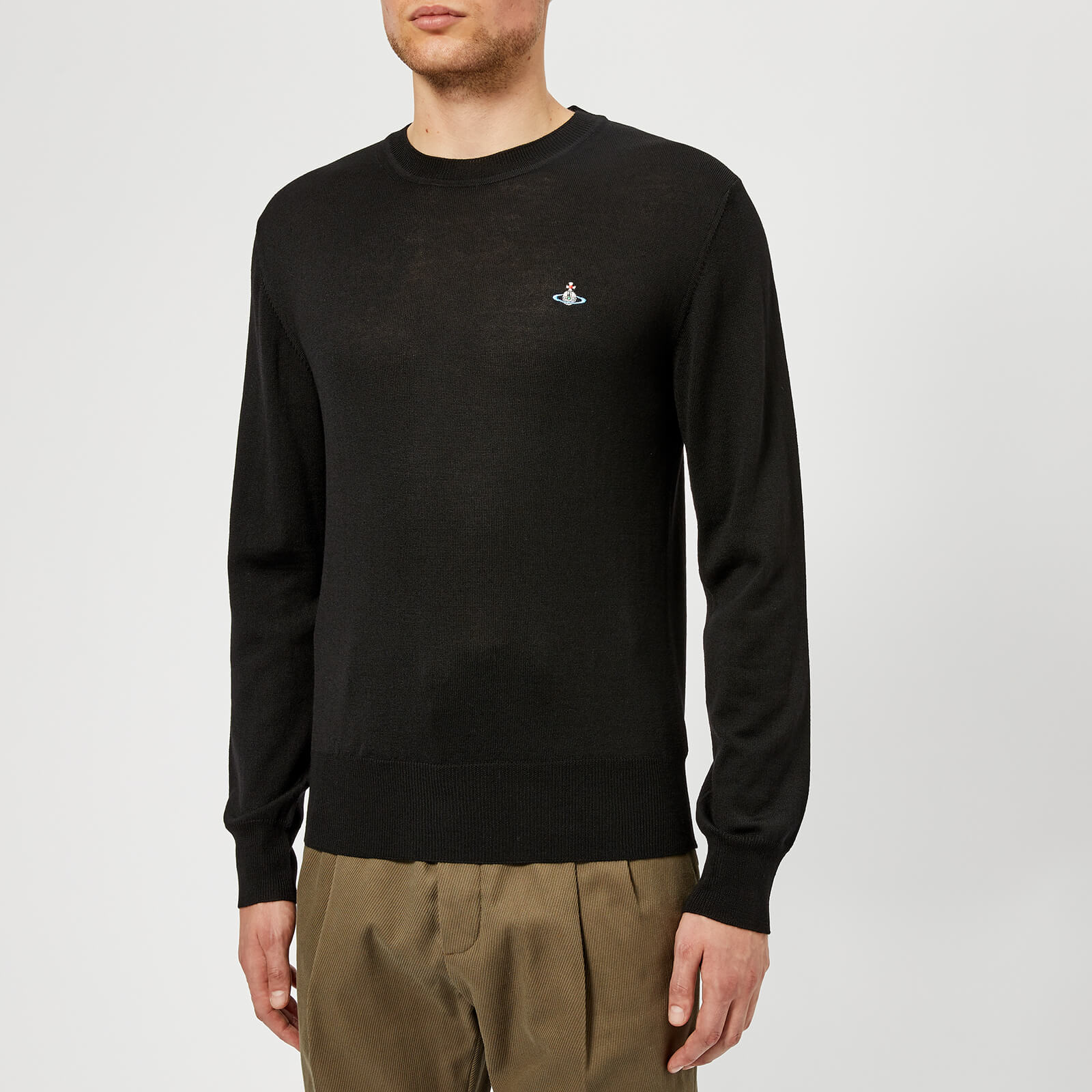 364558950a Vivienne Westwood Men's Classic Round Neck Knitted Jumper - Black - Free UK  Delivery over £50