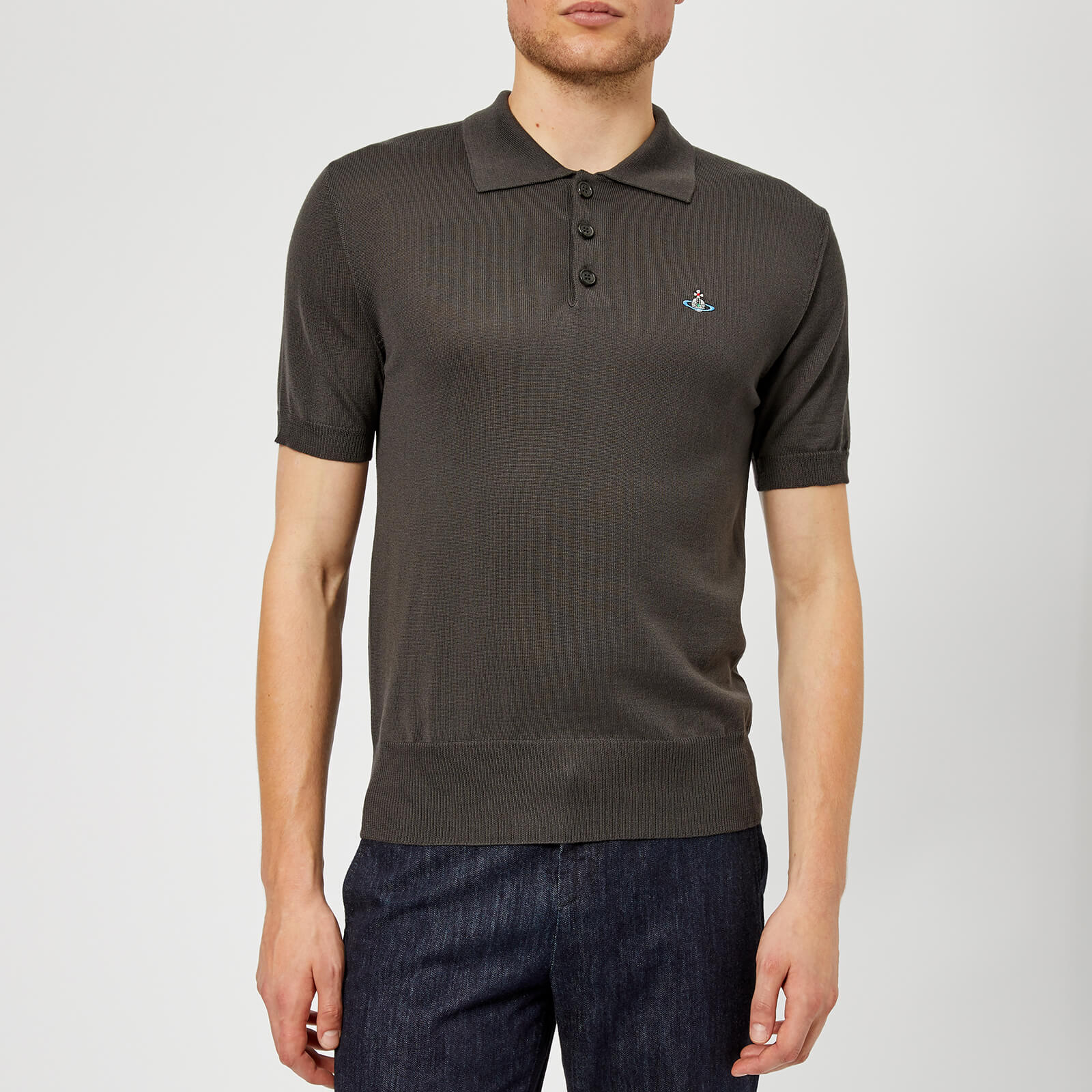 8b691833 Vivienne Westwood Men's Classic Knitted Polo Shirt - Dark Grey - Free UK  Delivery over £50