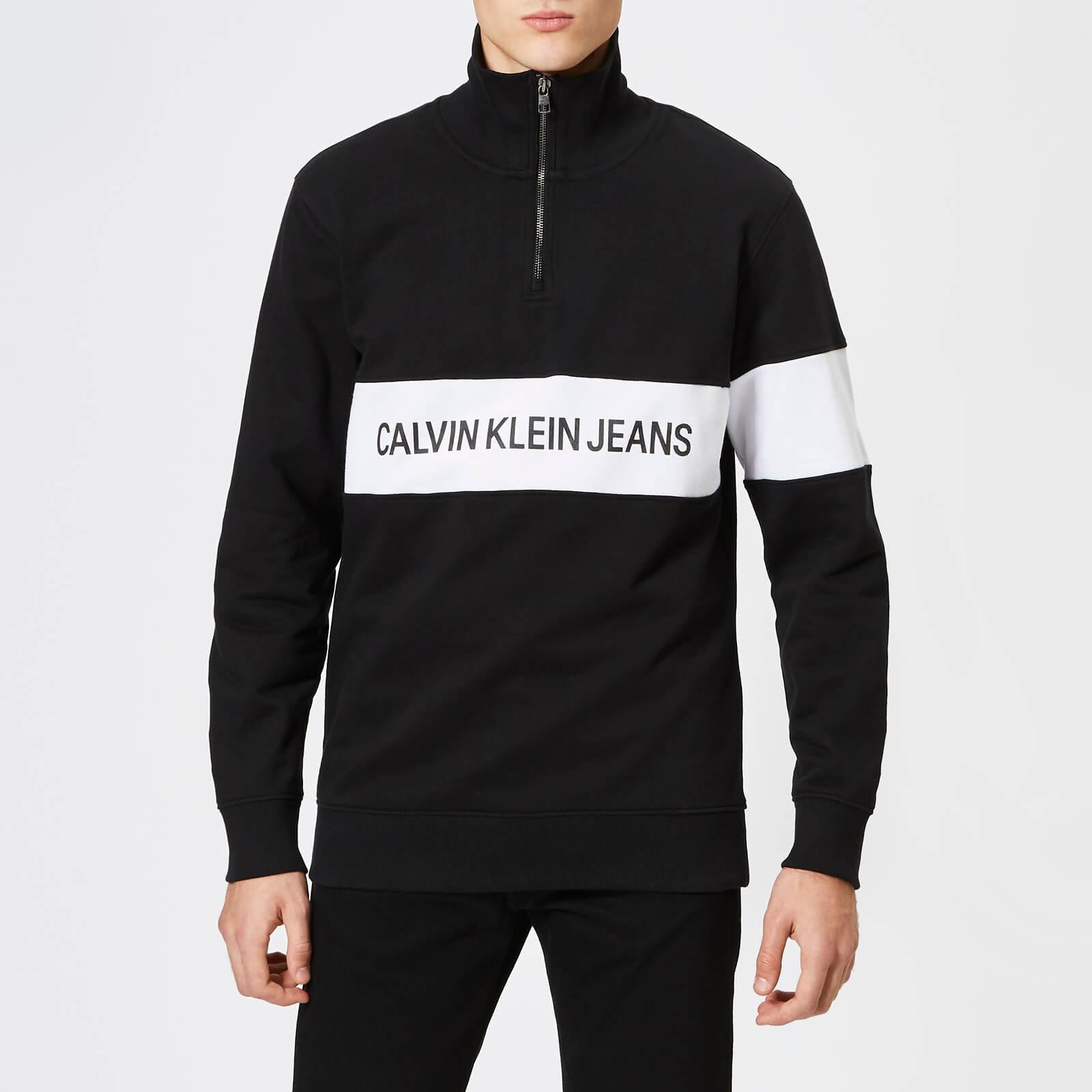 cd9a8d4b2c3 Calvin Klein Jeans Men's Stripe Institutional Logo Half Zip Sweatshirt - CK  Black