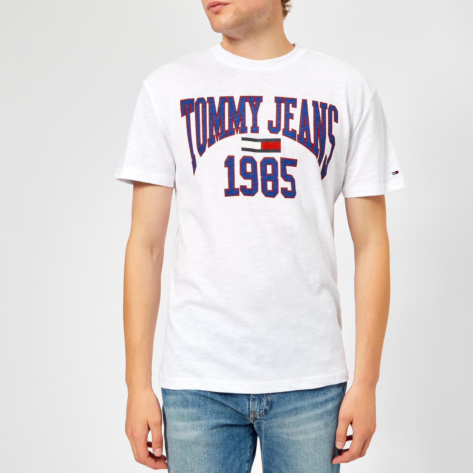 7b45989c Tommy Jeans Men's TJM Collegiate Logo T-Shirt - Classic White Clothing |  TheHut.com