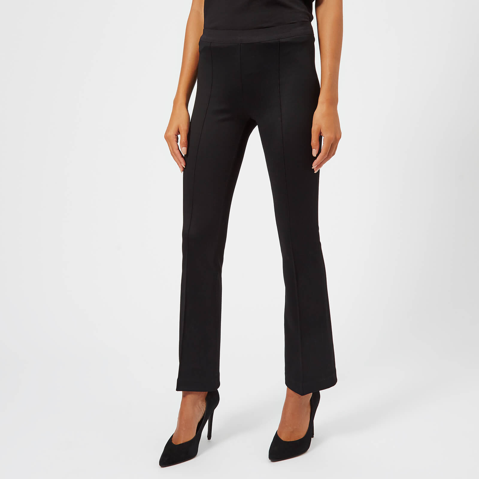 2f6021ae0fd098 Helmut Lang Women's Cropped Flare Rib Trousers - Black - Free UK Delivery  over £50