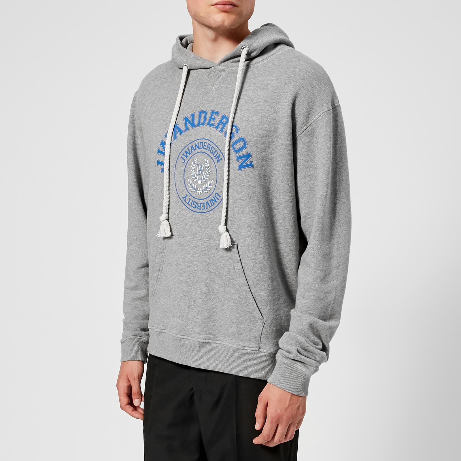 f3182ccb007e0f JW Anderson Men s University Print Hoodie - Light Grey Melange - Free UK  Delivery over £50