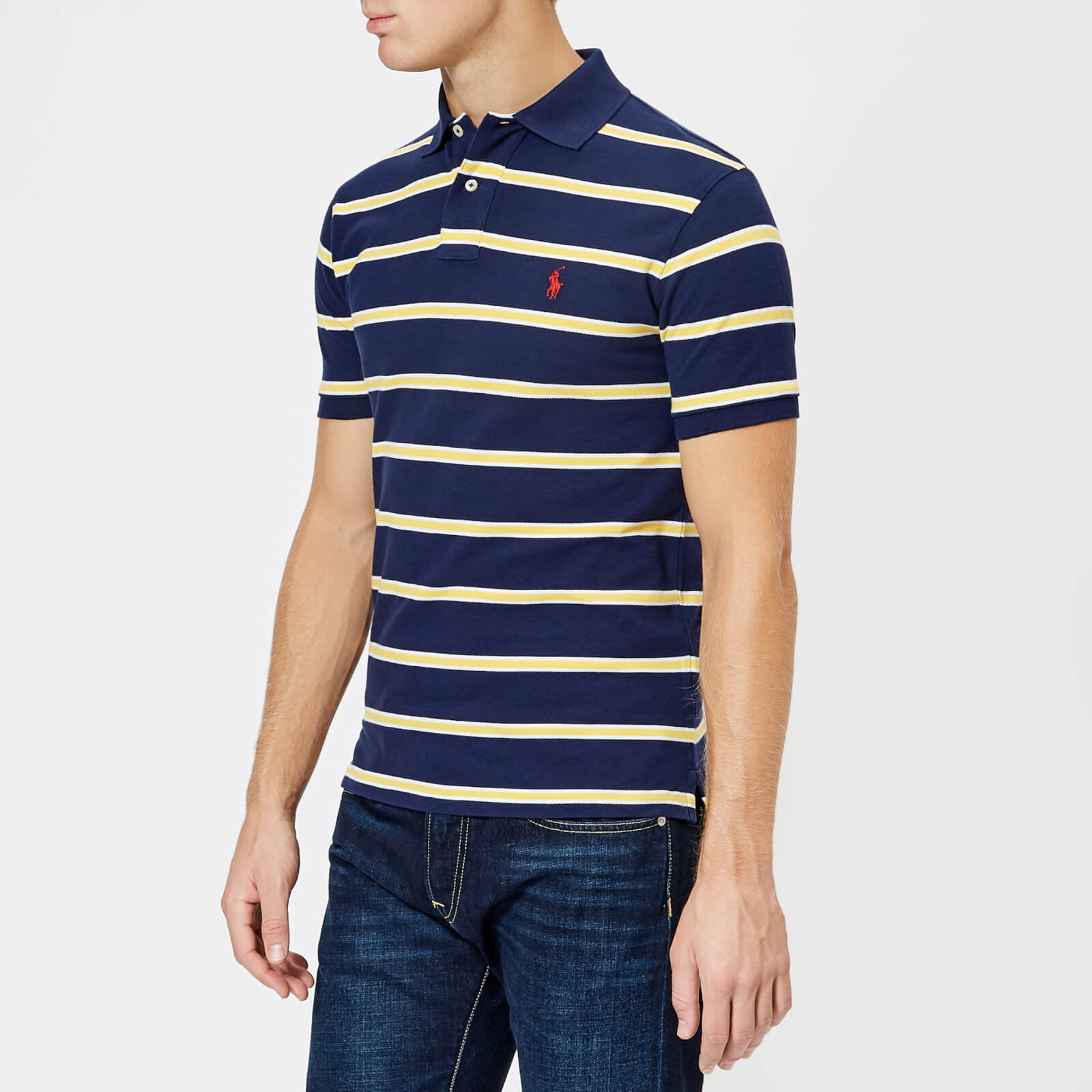 b0aa9c24e77e9 Polo Ralph Lauren Men s Stripe Short Sleeve Polo Shirt - Newport Navy Artic  Yellow - Free UK Delivery over £50