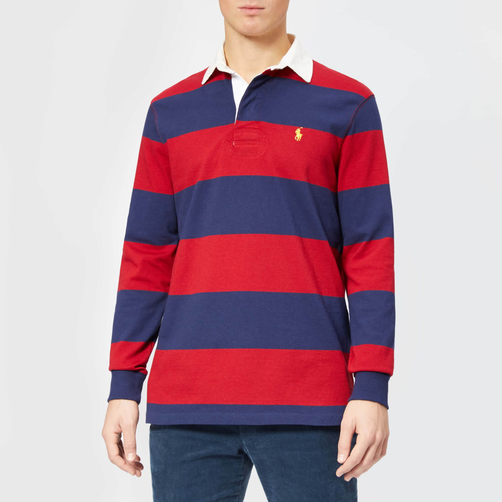 95e8f3ad88f Polo Ralph Lauren Men's Stripe Long Sleeve Rugby Shirt - Eaton Red/Newport  Navy - Free UK Delivery over £50
