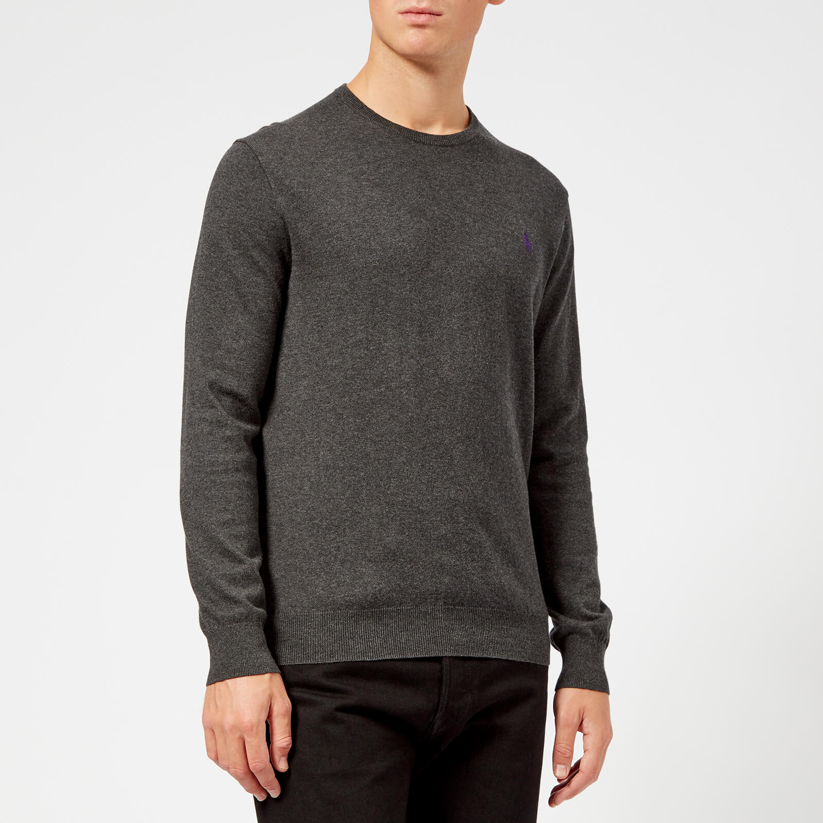02eb24329 Polo Ralph Lauren Men's Crew Neck Pima Knitted Jumper - Dark Charcoal  Heather - Free UK Delivery over £50