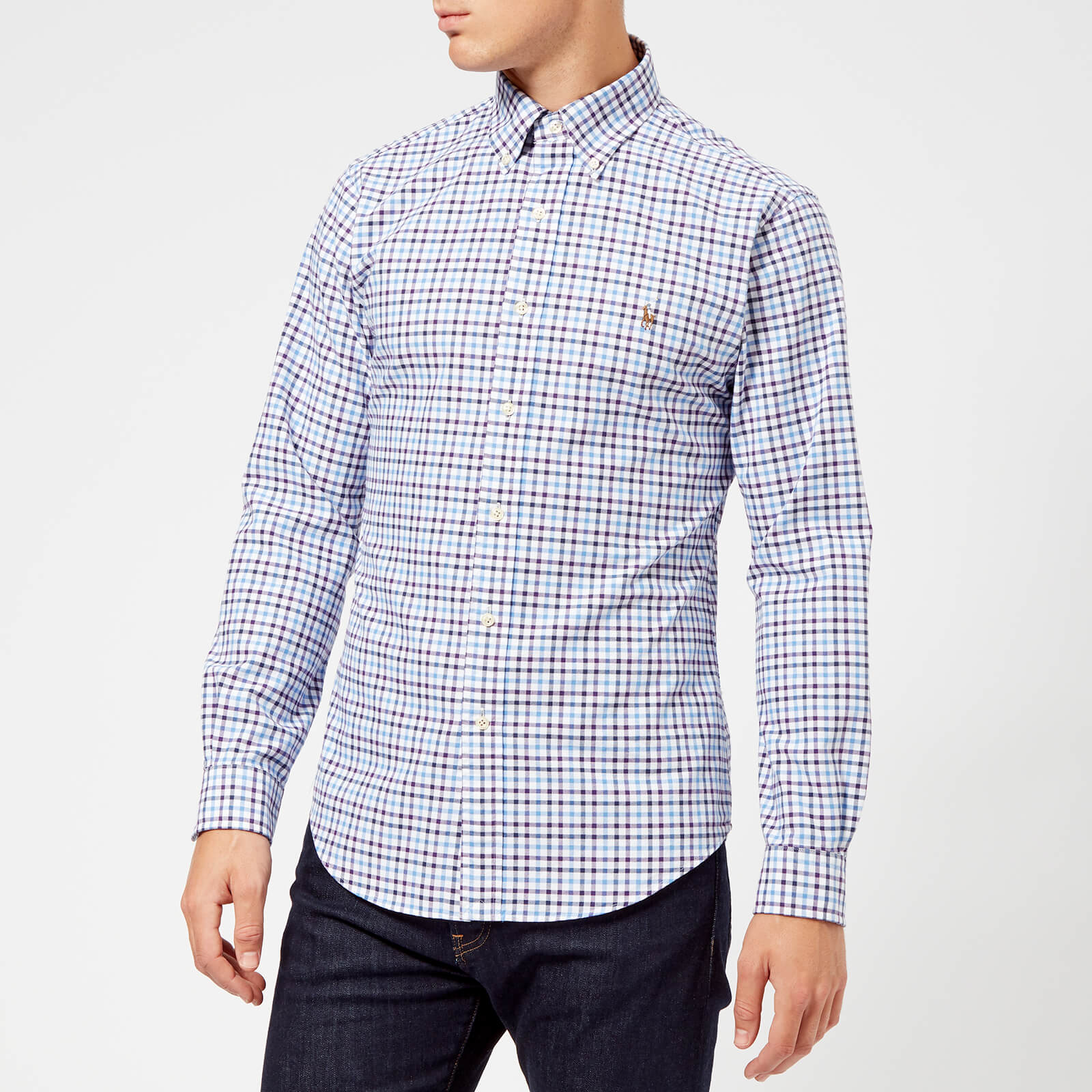 70df165dee7f4 Polo Ralph Lauren Men s Check Shirt - Wine Blue Multi - Free UK Delivery  over £50