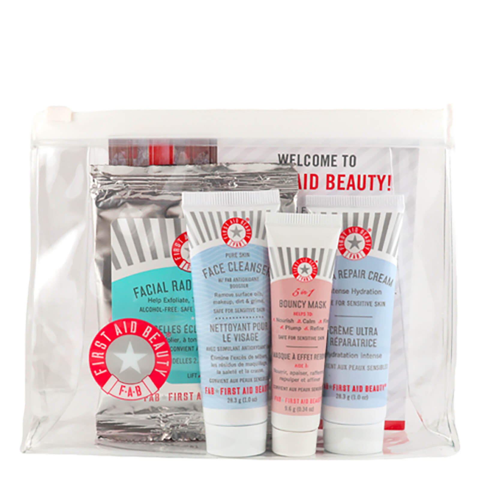 First Aid Beauty Gift Includes Face Cleanser Ultra Repair Cream 5 In 1 Bouncy Mask Facial Radiance Pads