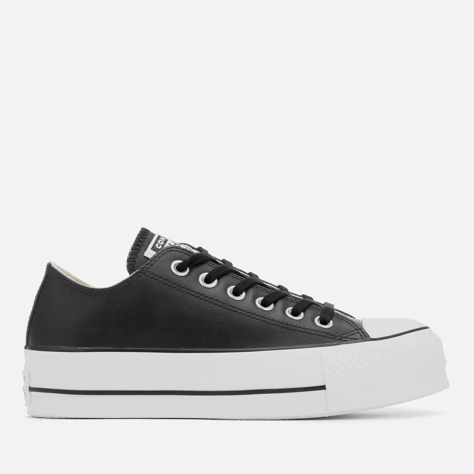 81f1494aaa6 Converse Women's Chuck Taylor All Star Lift Clean Ox Leather Trainers -  Black/White - Free UK Delivery over £50