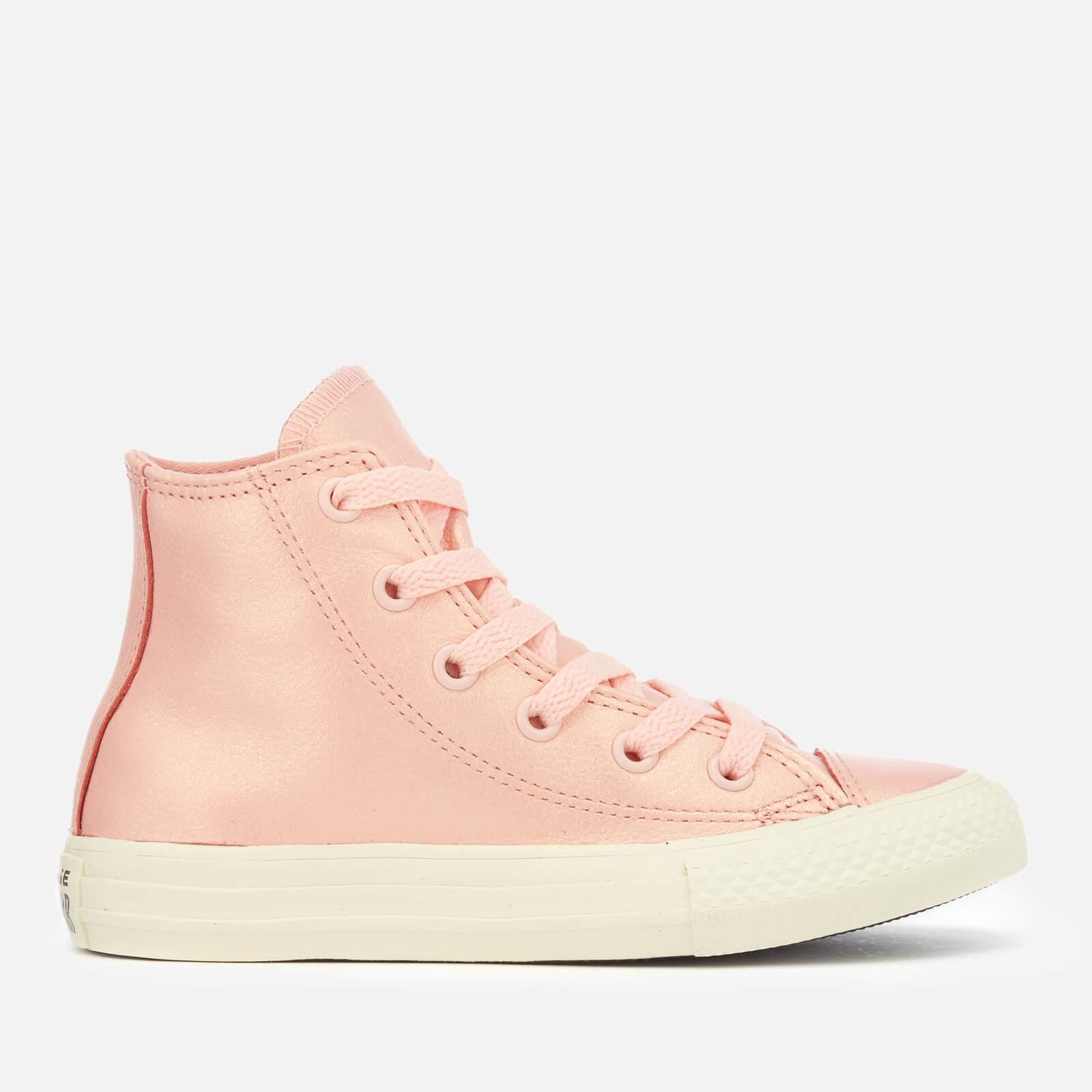 298e3d5400d7 Converse Kids  Chuck Taylor All Star Hi-Top Trainers - Storm Pink Metallic  Gunmetal Junior Clothing