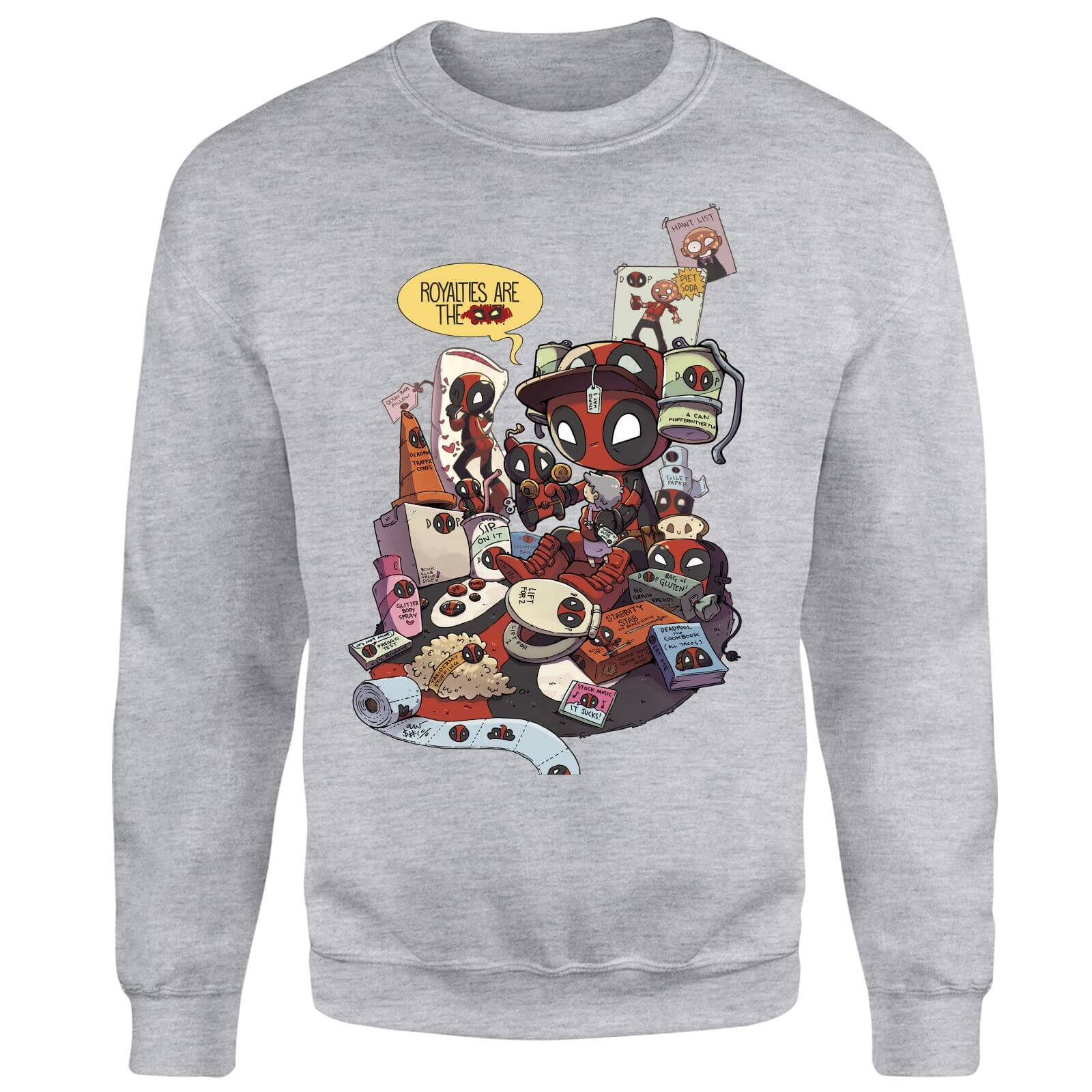 Marvel Deadpool Merchandise Royalties Sweatshirt - Grey