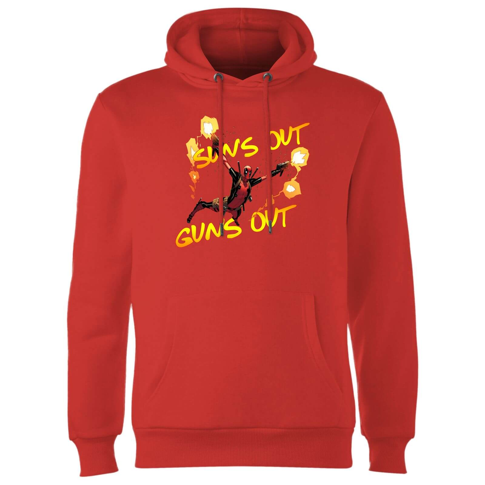 Marvel Deadpool Suns Out Guns Out Hoodie - Red