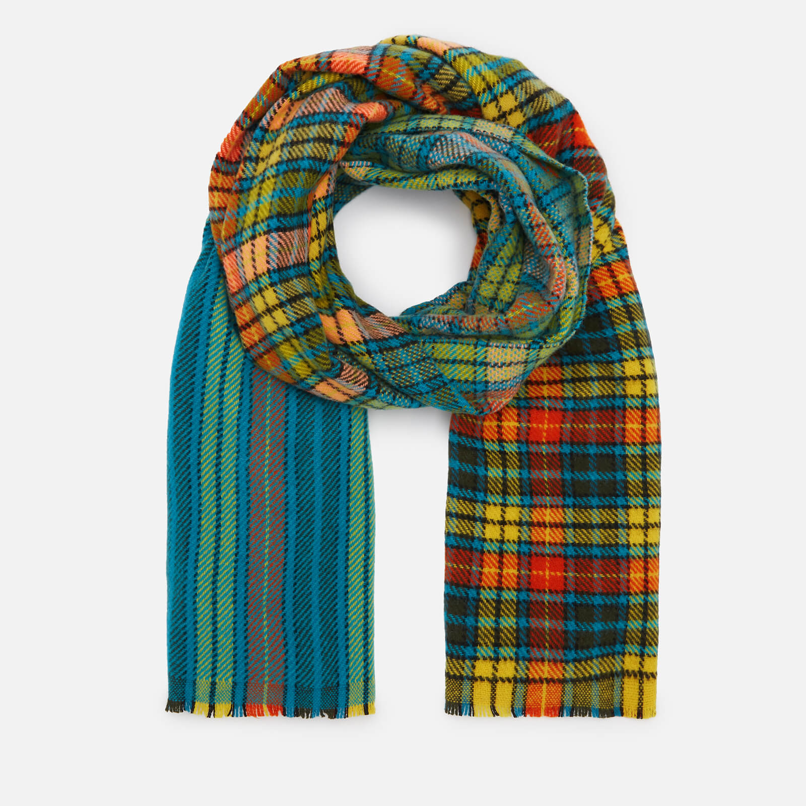 fd99f81ee9a63 Acne Studios Men s Cassiar Check Scarf - Mid Blue Yellow Check - Free UK  Delivery over £50