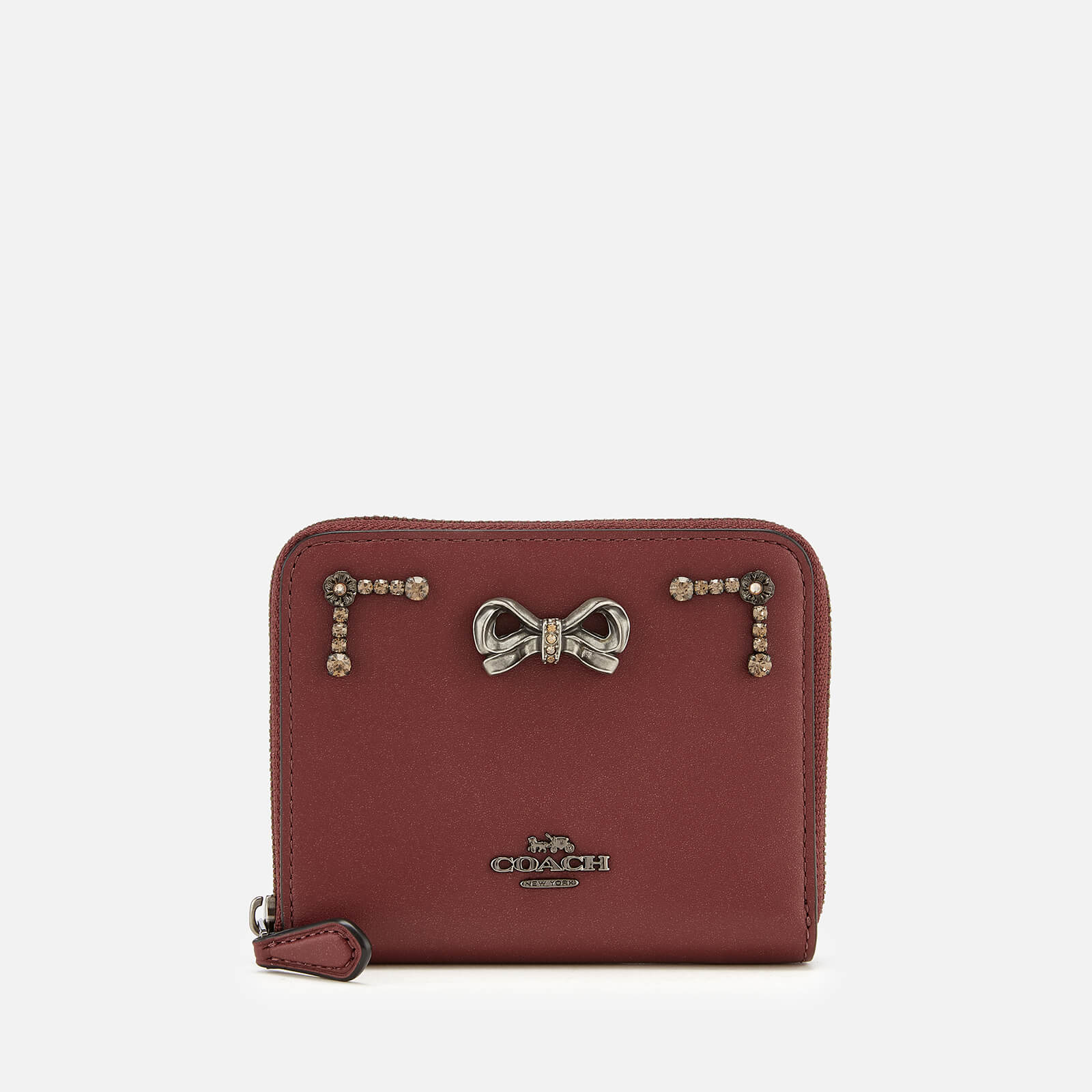 73889321bbba0 Coach Women s Selena Crystal Embellishment Zip Around Purse - Wine - Free  UK Delivery over £50