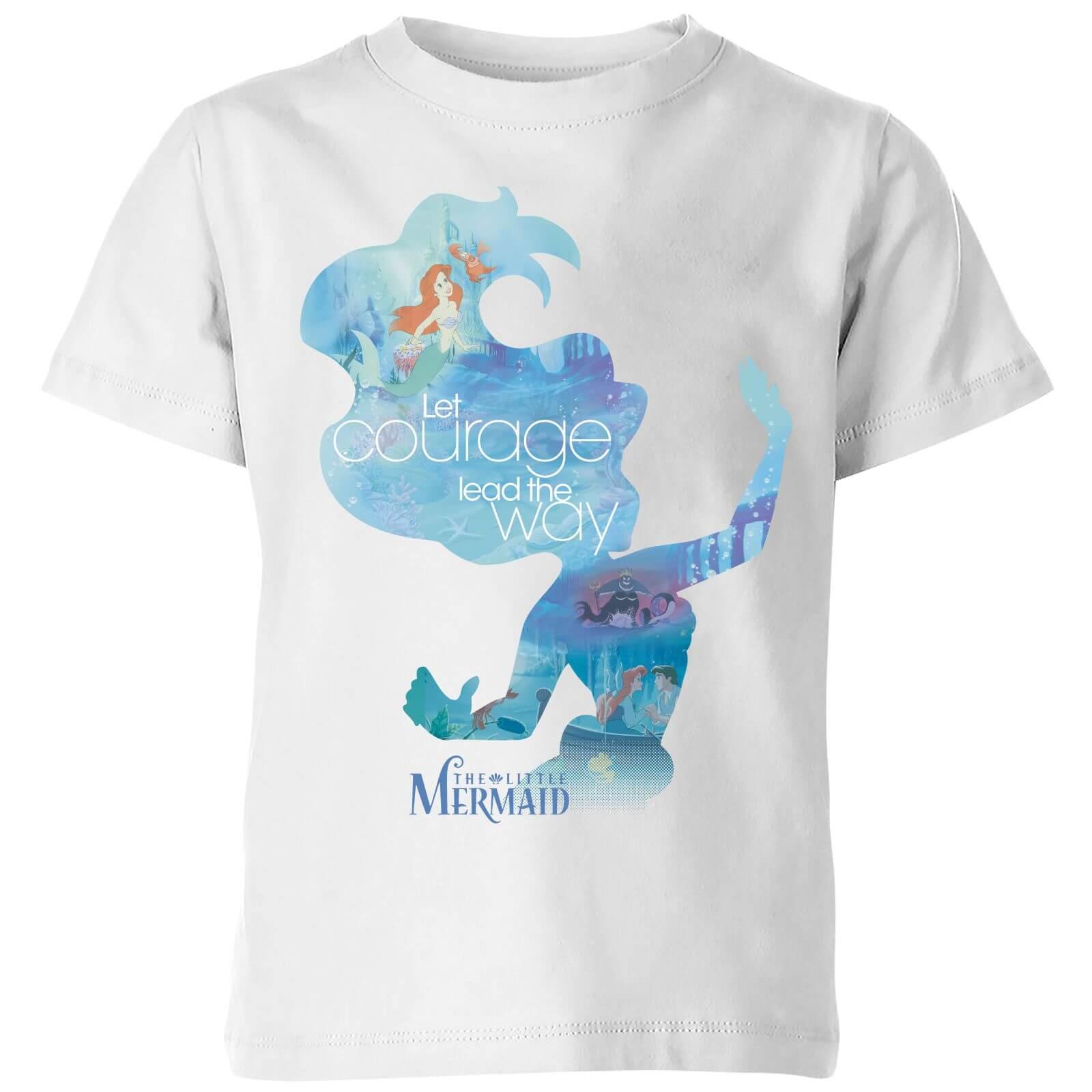Disney Princess Filled Silhouette Ariel Kids T Shirt White
