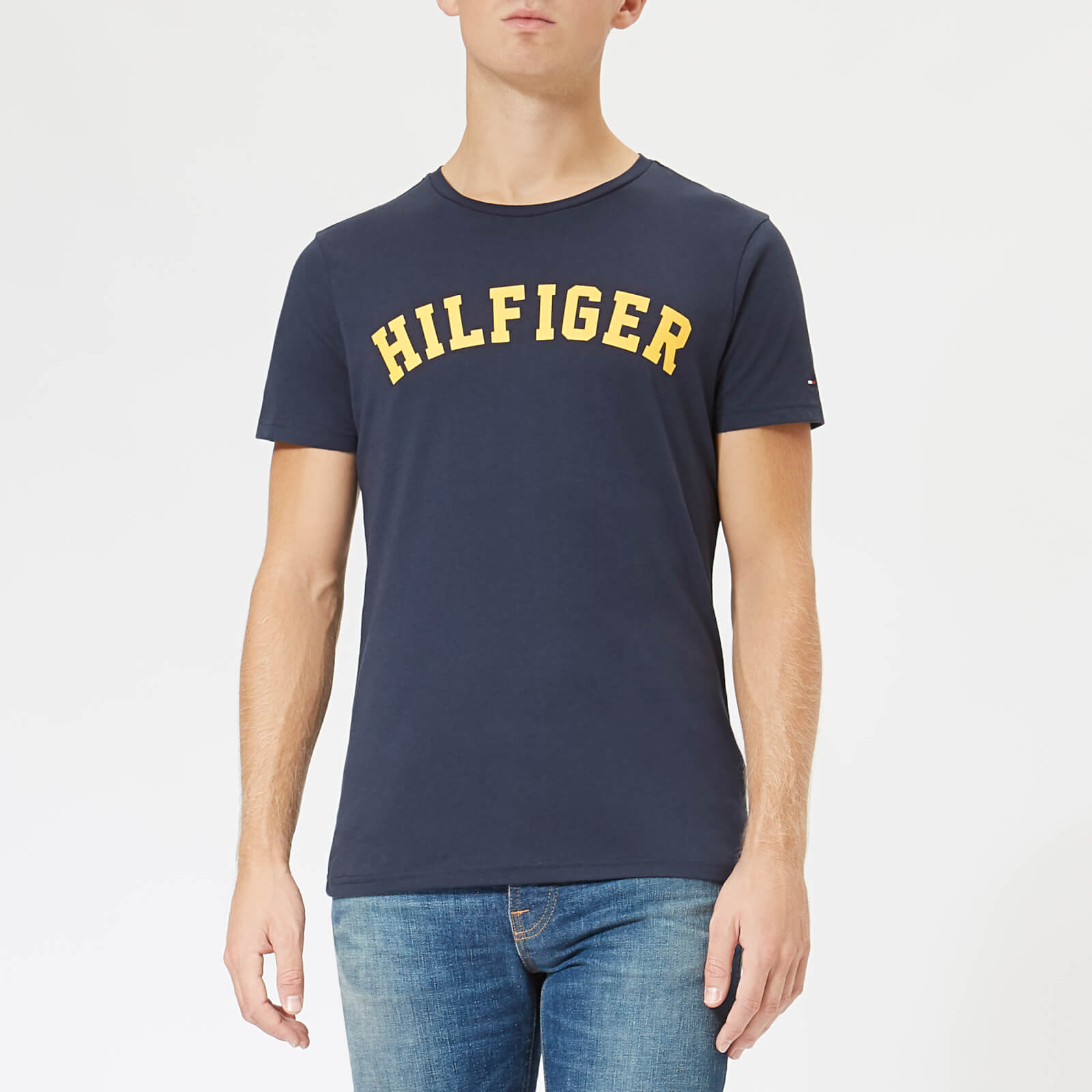 aed3c4ad Tommy Hilfiger Men's Short Sleeve Logo T-Shirt - Navy/Citrus Clothing |  TheHut.com