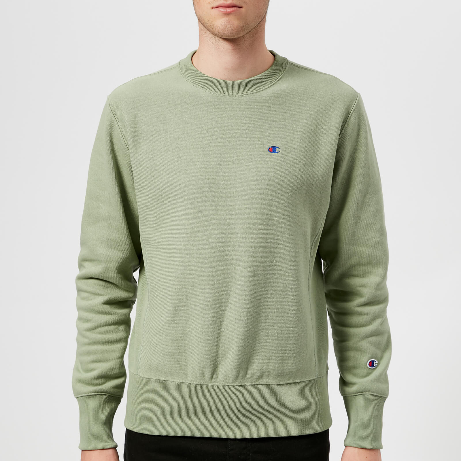 eef99000b Champion Men's Crew Neck Sweatshirt - Khaki - Free UK Delivery over £50