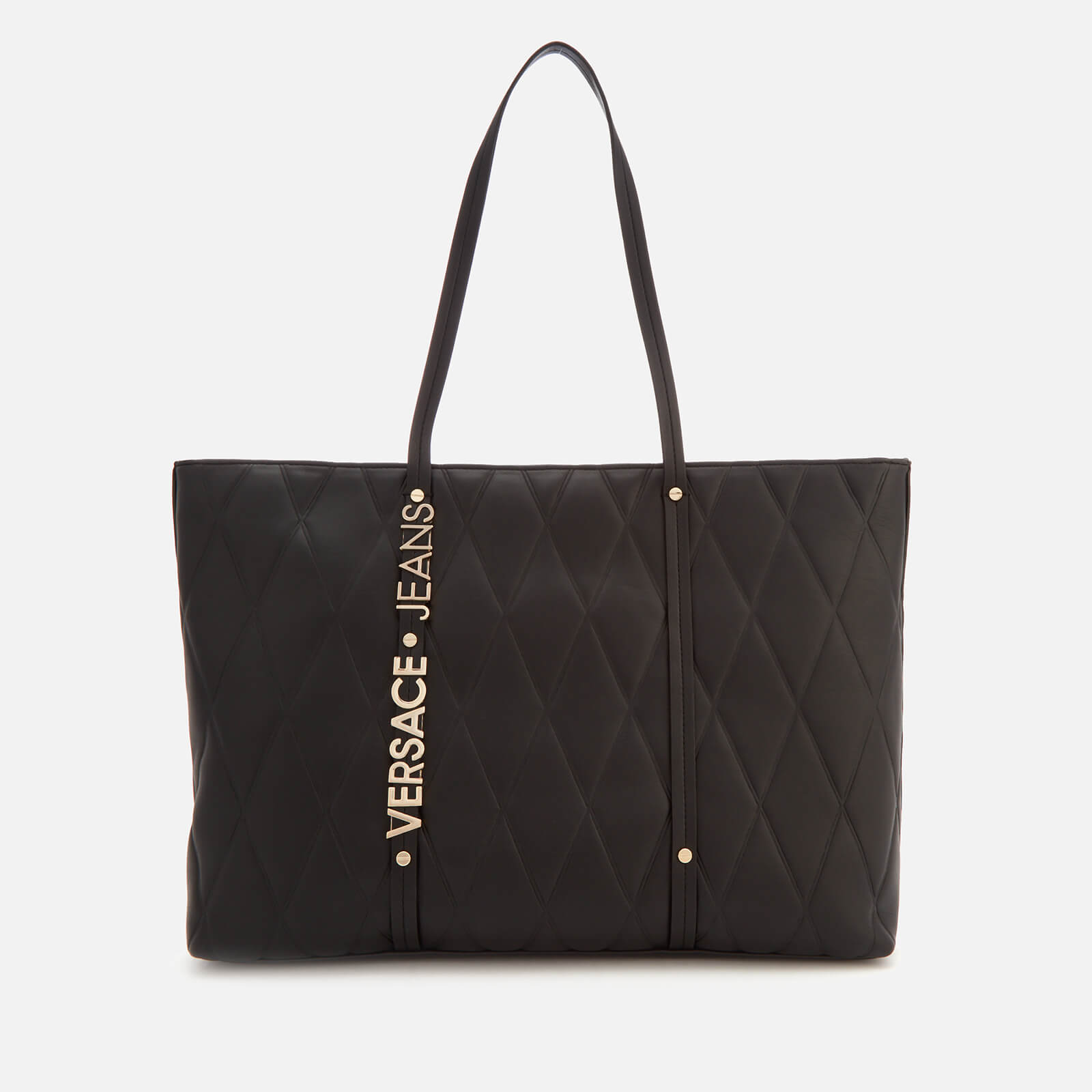 75551fc3bc1 Versace Jeans Women s Quilted Logo Tote Bag - Black Clothing ...
