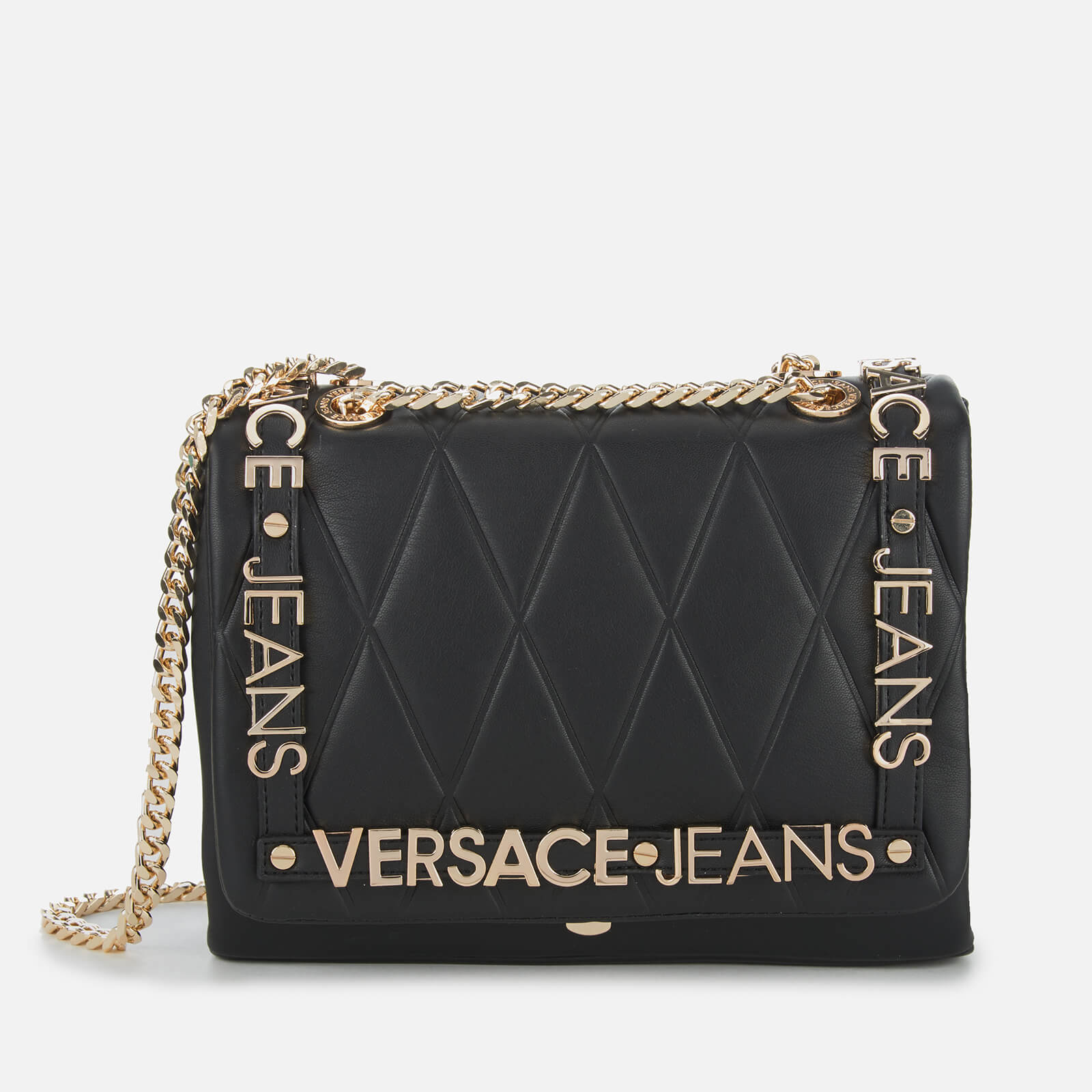 bee7bf344c Versace Jeans Women's Quilted Logo Chain Handle Cross Body Bag - Black