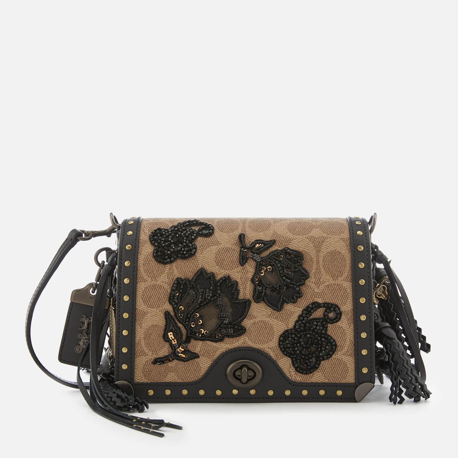 a1e7d509 Coach 1941 Women's Exclusive Floral Signature Print Dinky 19 Cross Body Bag  - Tan/Black