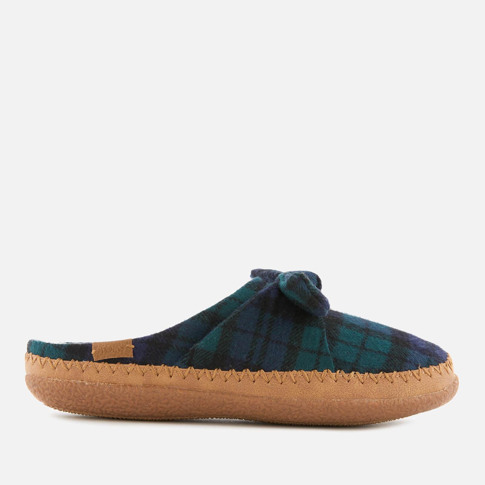 TOMS Women's Plaid Felt Bow Slippers - Spruce - UK 4 - Green