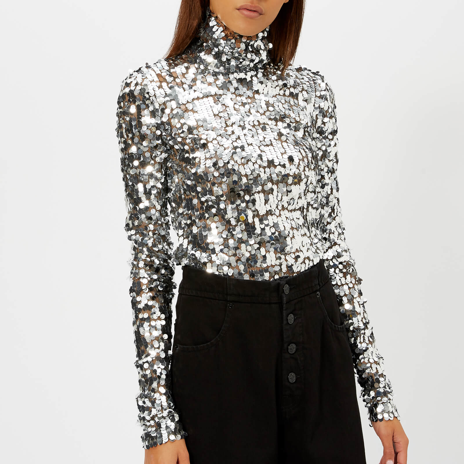 1a41b920b6c MM6 Maison Margiela Women's Sequin Top - Silver - Free UK Delivery over £50