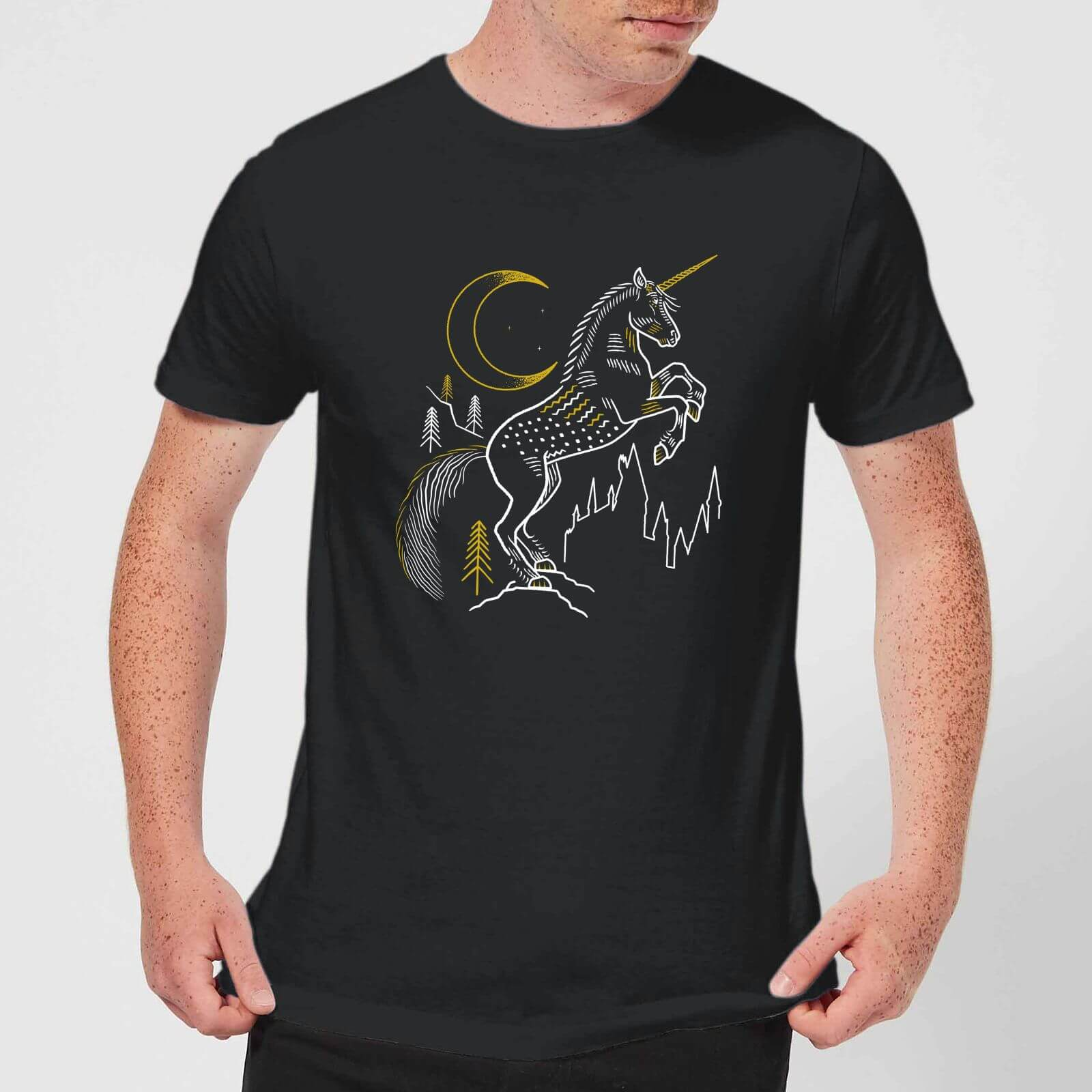 5a735f8a265f0 T-Shirt Homme Dessin au Trait Licorne - Harry Potter - Noir Clothing |  fr.zavvi