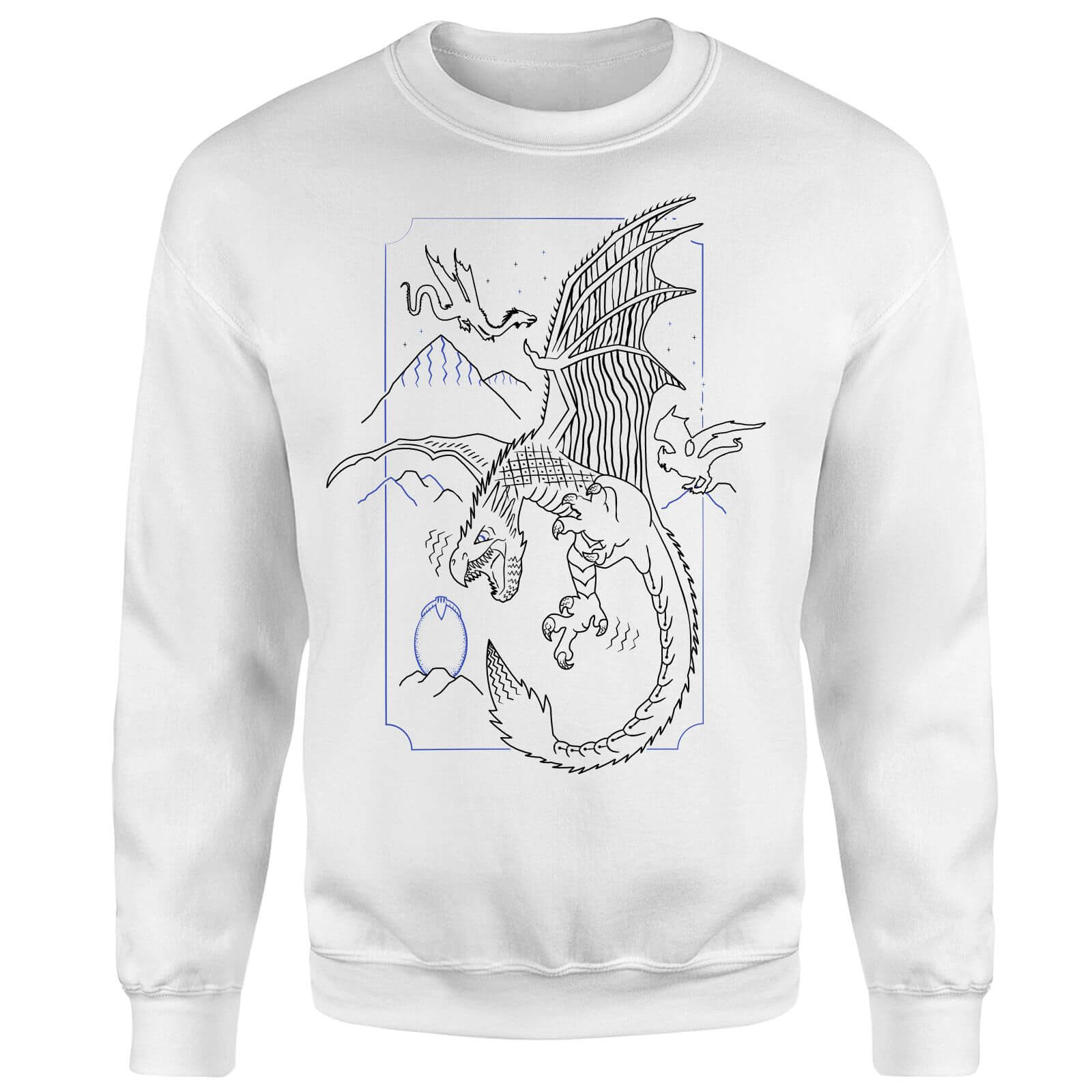 Harry Potter Dragon Line Art Sweatshirt - White