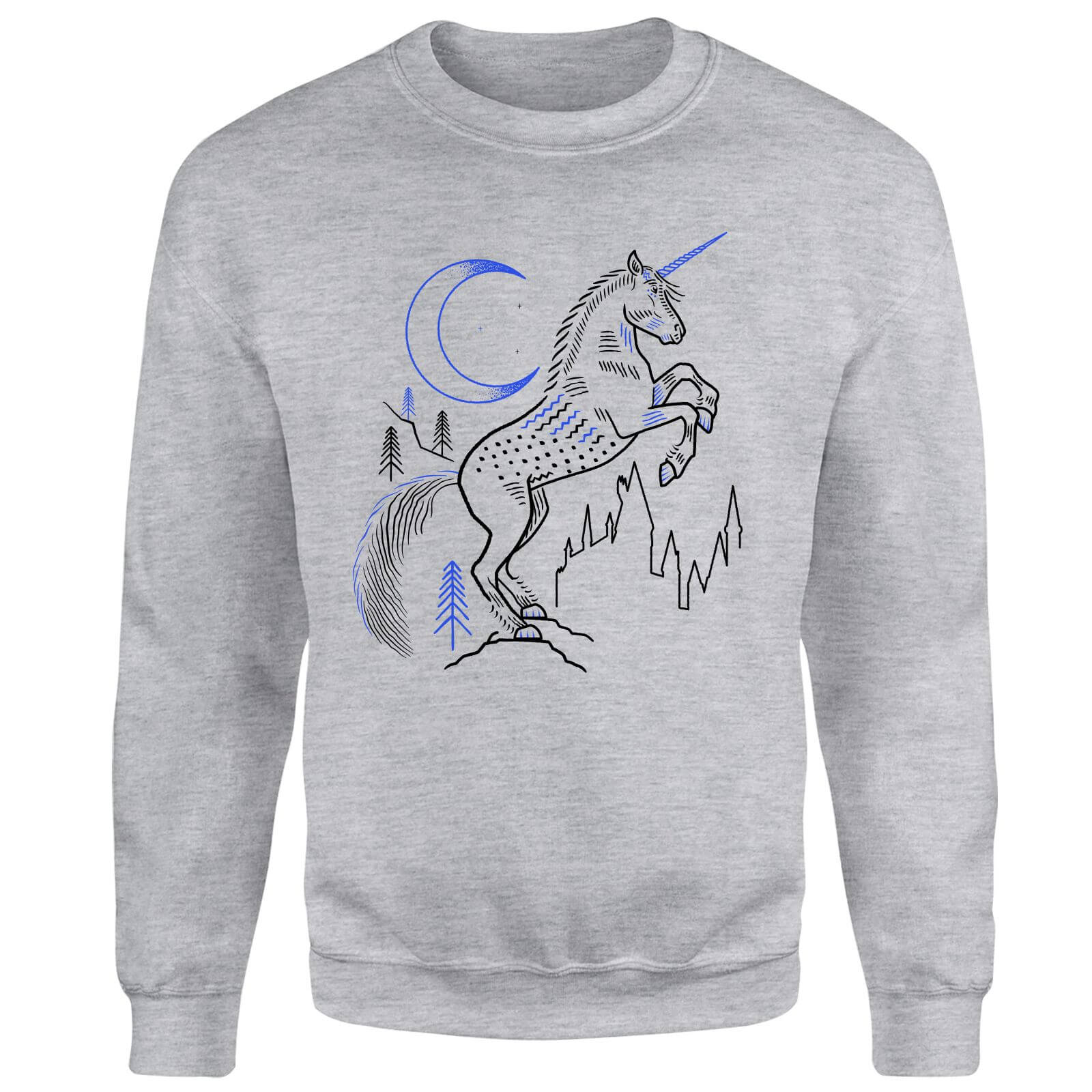 Harry Potter Unicorn Line Art Sweatshirt - Grey