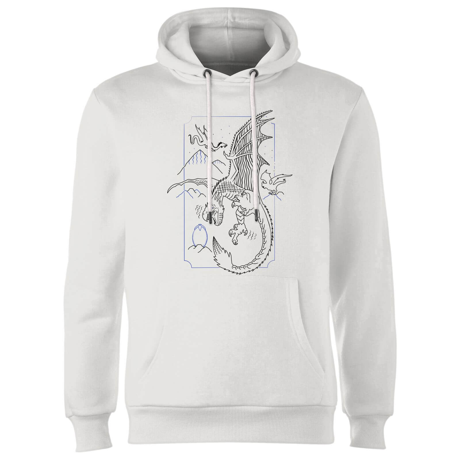 Harry Potter Dragon Line Art Hoodie - White
