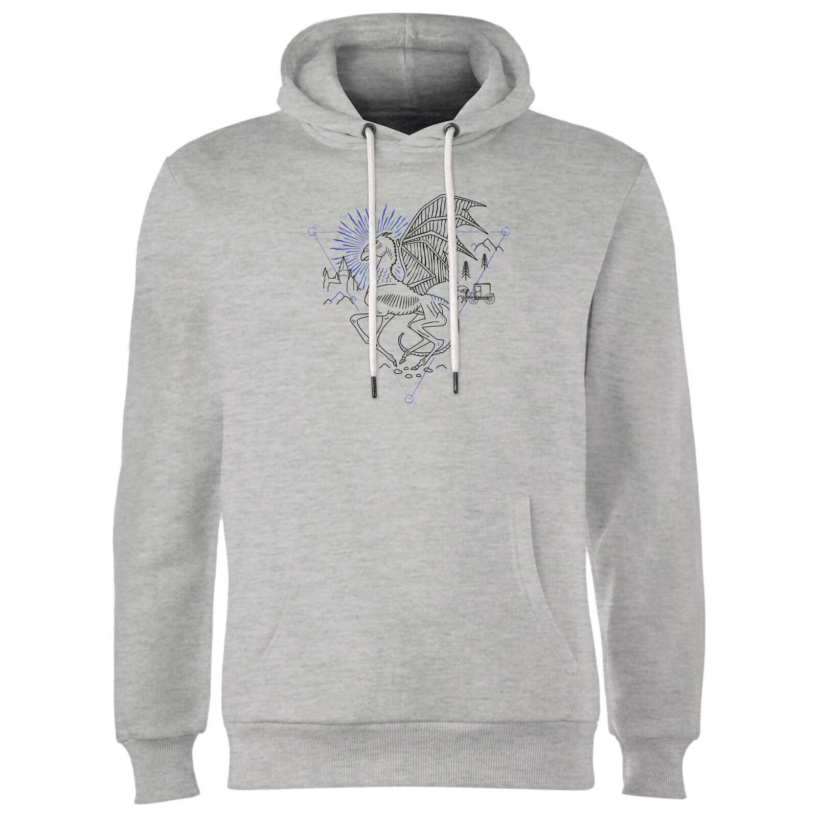 Harry Potter Thestral Line Art Hoodie - Grey