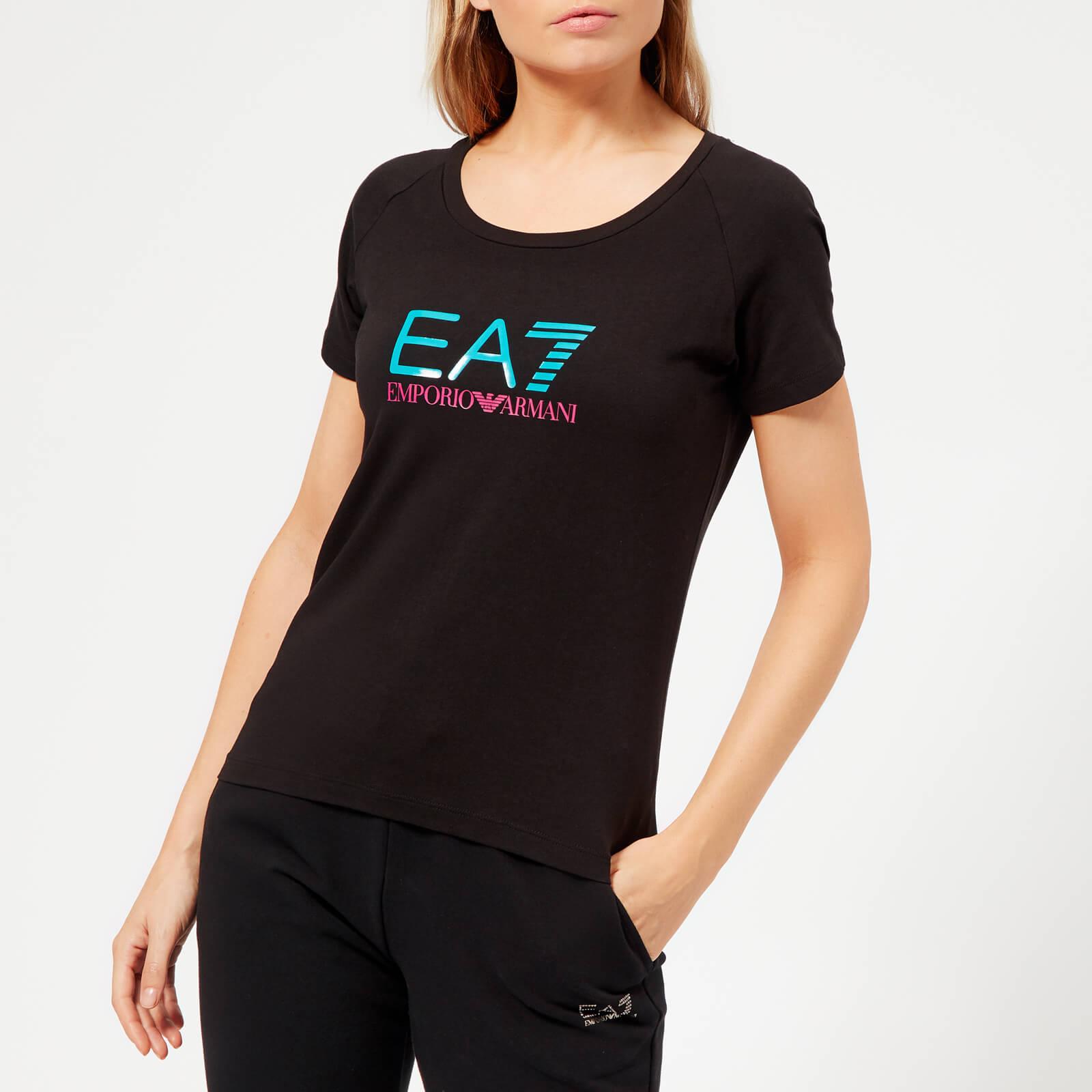 0a85a6906 Emporio Armani EA7 Women's Train Logo Series Shiny Print T-Shirt - Black  Sports & Leisure | TheHut.com