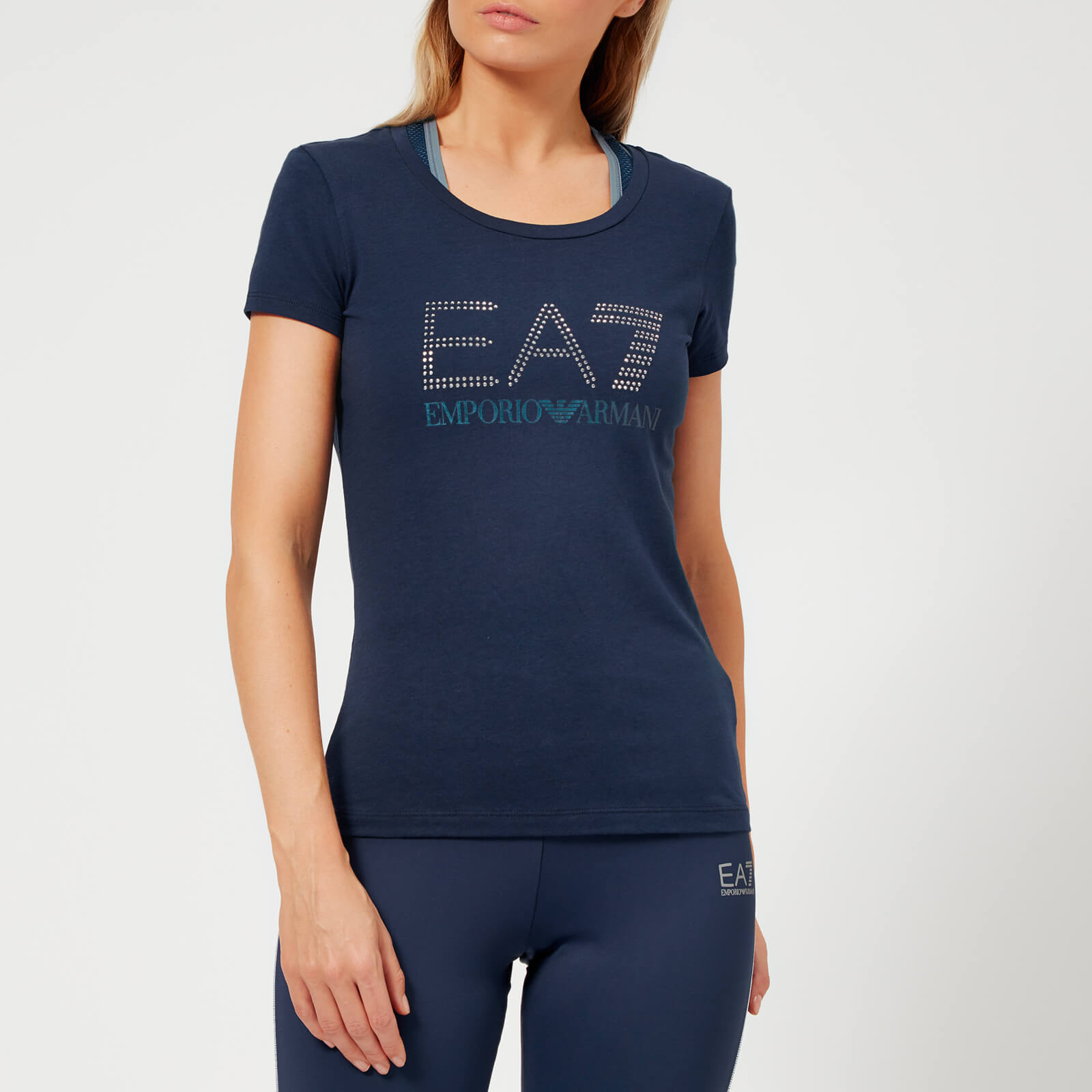 e343c1d0033f Emporio Armani EA7 Women's Train Logo Series Short Sleeve T-Shirt with  Studs - Navy Blue Sports & Leisure | TheHut.com
