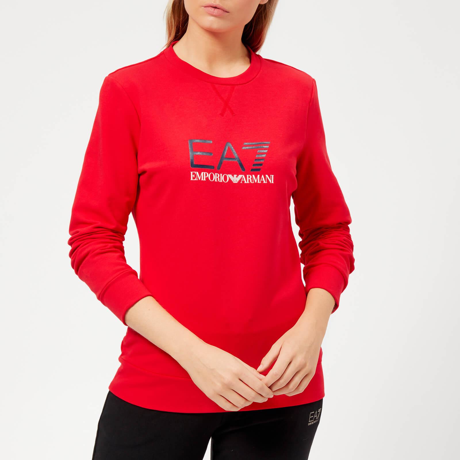 404160448 Emporio Armani EA7 Women's Train Logo Series Sweatshirt with Shiny Print -  Red Sports & Leisure | TheHut.com