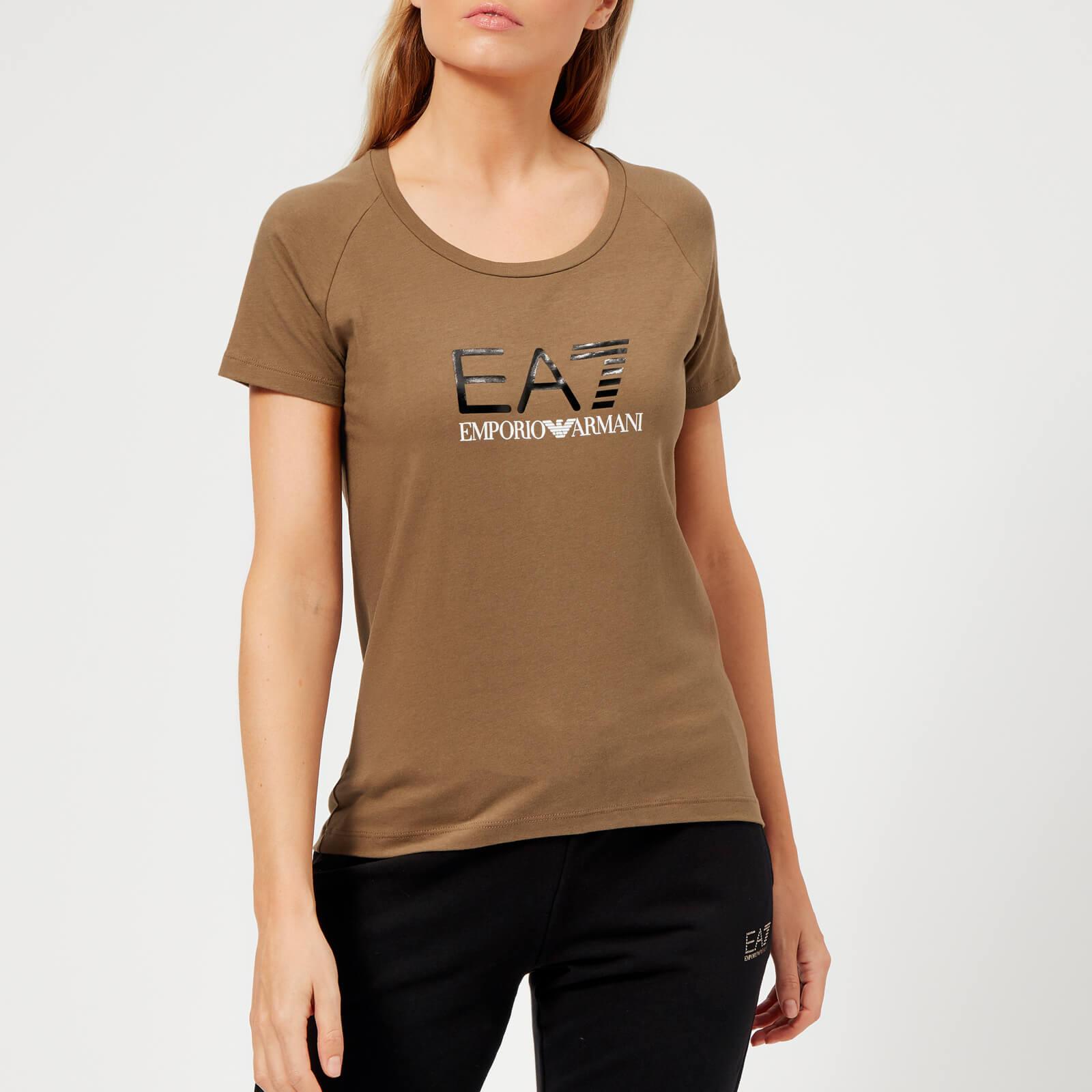 b154c7ef0 ... Emporio Armani EA7 Women's Train Logo Series Shiny Print T-Shirt -  Stone Grey