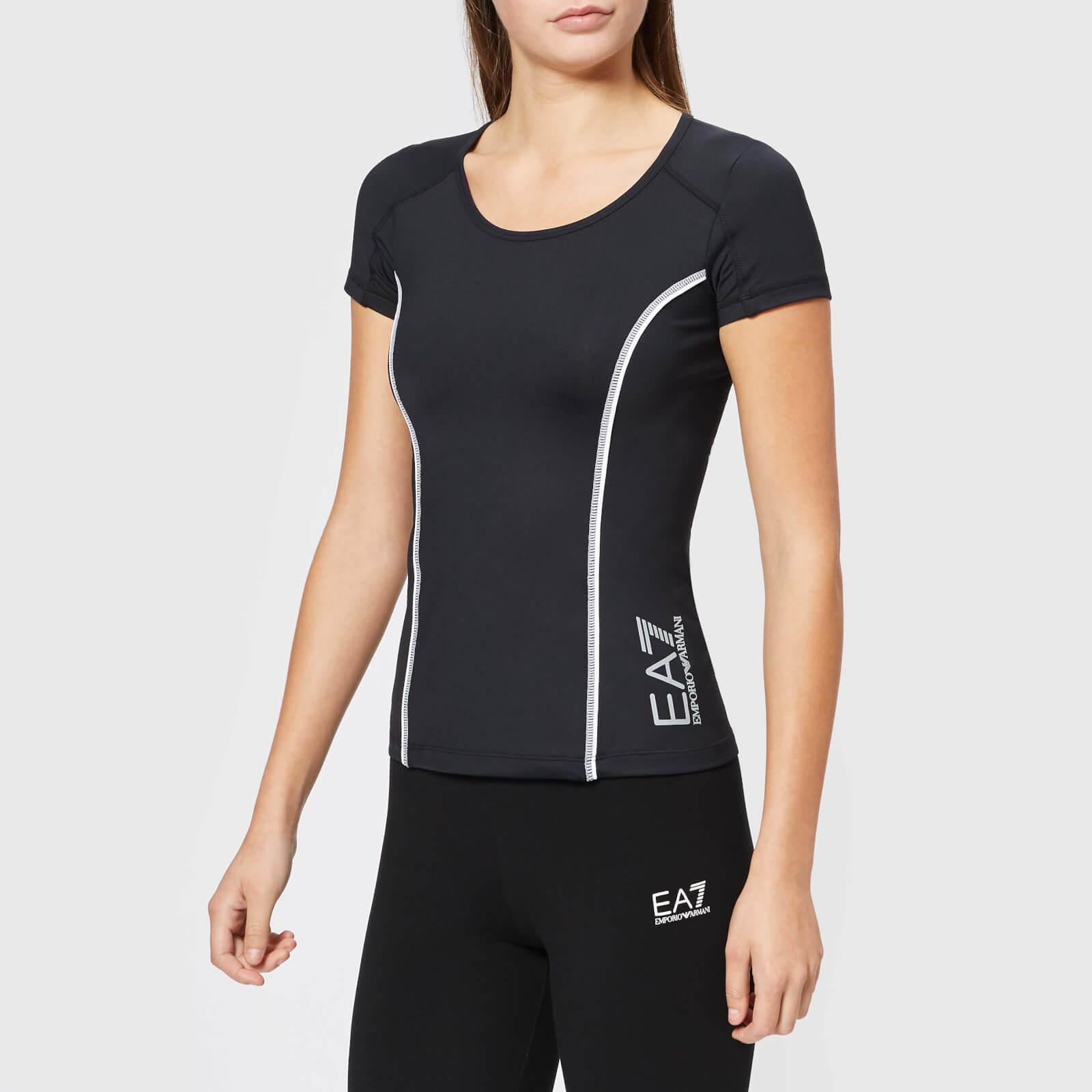 b93e271b5cc9 Emporio Armani EA7 Women's Round Neck T-Shirt - Black Sports & Leisure |  TheHut.com